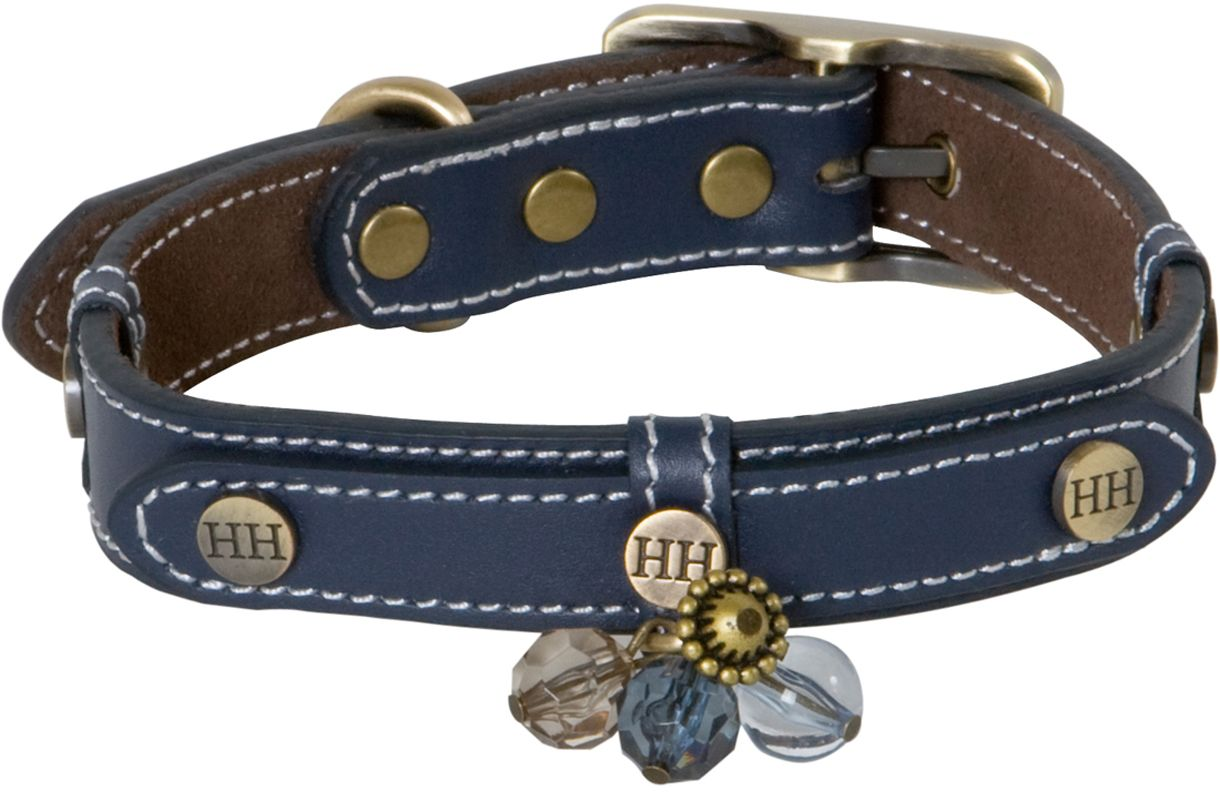 "Ошейник для собак Happy House ""Beads"", цвет: синий, обхват шеи 33-39 см, ширина 2 см. Размер S"