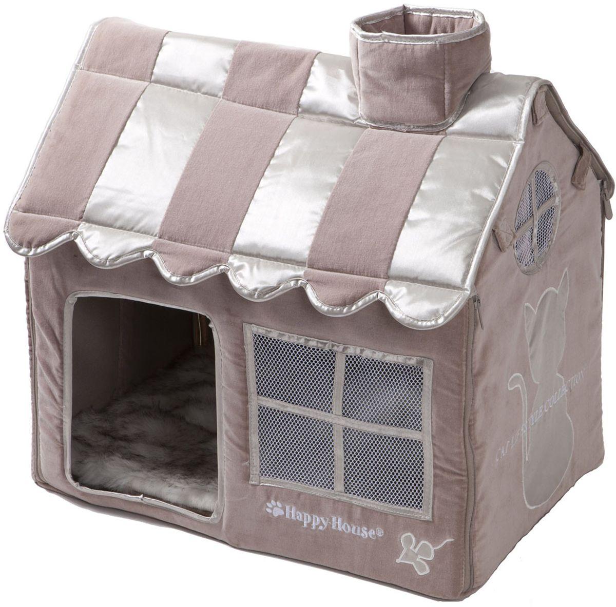 Домик для кошек Happy House Cat Lifestyle, цвет: серый, молочно-коричневый, 52 х 36 х 49 см подушка для животных happy house canvas цвет черный 107 х 70 х 10 см