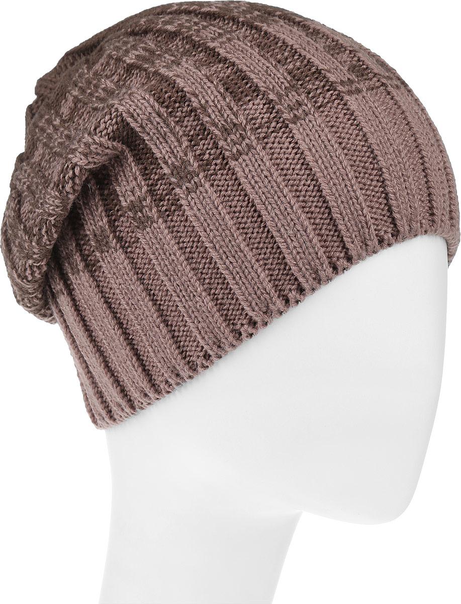 Шапка женская Leighton Trend, цвет: коричневый, темно-коричневый. 4-076. Размер 56/584-076Женская шапка Leighton Trend изготовлена из шерсти с добавлением акрила. Модель оформлена вертикальной вязкой и градиентным переходом. Уважаемые клиенты!Размер, доступный для заказа, является обхватом головы.
