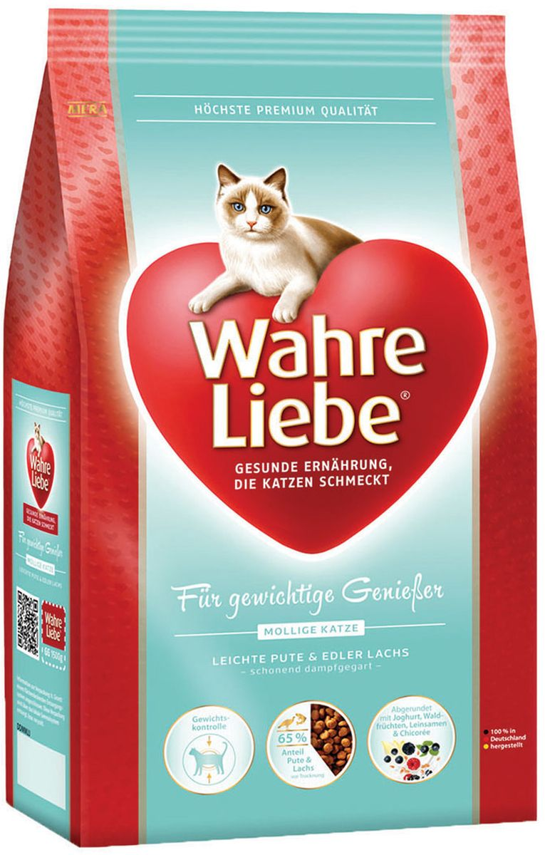 Корм сухой Wahre Liebe Mollige, для кошек с избыточным весом, стерилизованных и кастрированных, 4 кг30634Wahre Liebe - это корм, произведенный в Германии, он обладает превосходным вкусом и ароматом, которые не оставят равнодушной даже самую привередливую кошку. Ведущий ветеринарный врач завода Mera учел все потребности организма кошки, разработал идеальную формулу корма и назвал ее - Wahre Liebe, что в переводе с немецкого Истинная любовь.Wahre Liebe - не только подарит любовь и заботу питомцу, но и обеспечит его здоровьем и долголетием на всю жизнь.Корм Wahre Liebe это:- 68% свежего мяса,- устойчивая кишечная микрофлора и отличное пищеварение,- профилактика волосяных комочков,- поддержка иммунитета на клеточном уровне,- сбалансированное и полнорационное питание.Wahre Liebe - это истинная любовь для кошек с характером. Это истинно немецкое качество.Состав: мука из мяса птицы (28% курица, индейка 4%), кукуруза, кукурузный глютен, ячмень, целлюлозная клетчатка (5%), мука из мяса лосося (4%), рис (4%), свекловичная стружка(3%, обессахаренная), куриный белок (гидролизованный), животный жир (птица, говядина), масло льняных семян (2%), печень домашней птицы (1%, высушенная), хлорид натрия, масло лосося (0,6%), подсолнечное масло (0,4%), пивные дрожжи (сухие), высушенное яйцо, порошок цикория ( 0,3%, богатый инулином), порошок из йогурта (0,2%), хлорид калия, порошок из лесных плодов (0,1%),порошок из Юкки Шидигера.Товар сертифицирован.