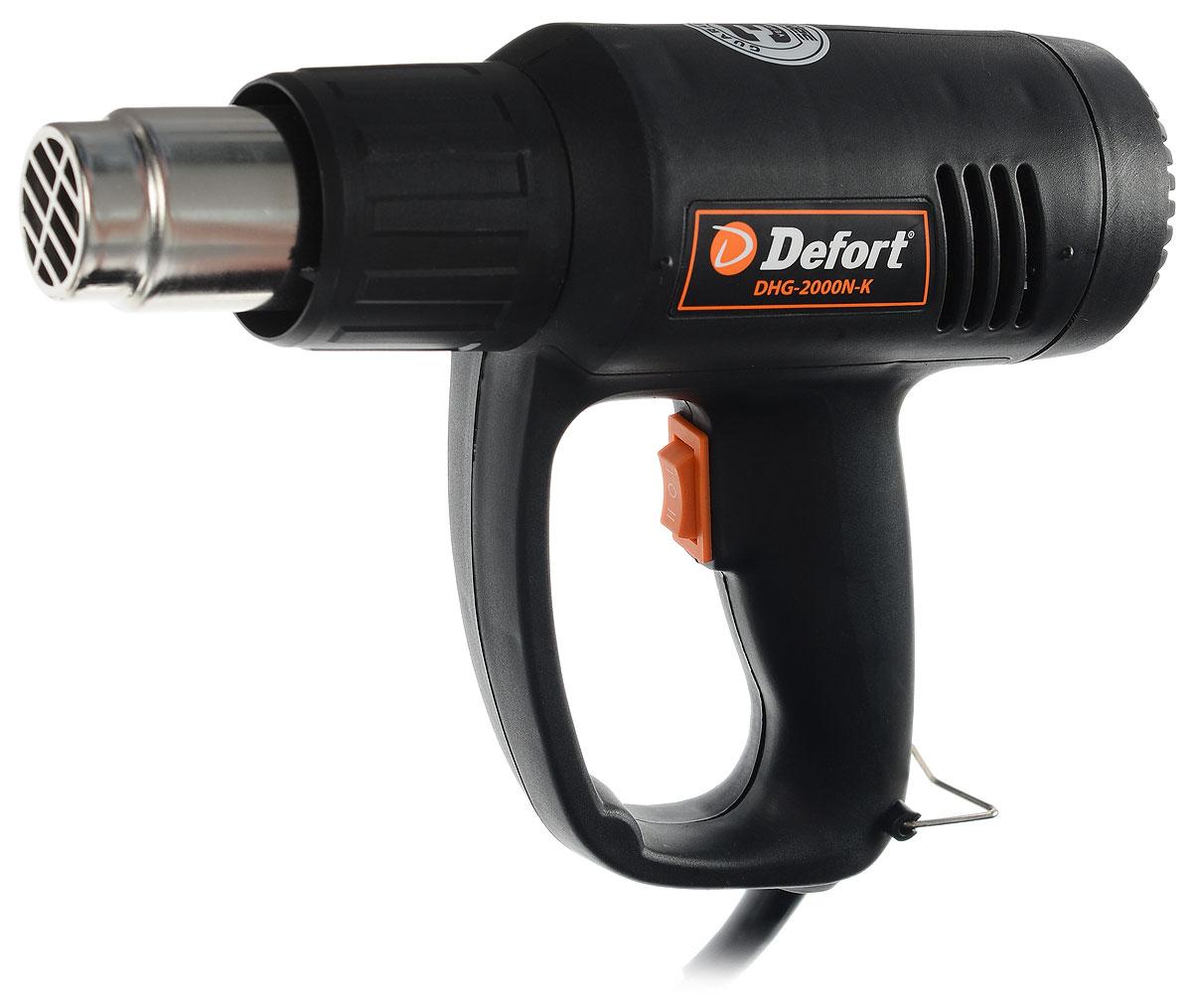 Строительный фен Defort DHG-2000N-K, цвет: черный93720490_черныйФен технический Defort DHG-2000N-K поможет быстро и качественно снять старую масляную краску с деревянных поверхностей, высушить небольшой объект, нагреть термоусадочную трубку. Фен имеет два режима работы и устройство, защищающее от перегрева. Фен отличается оригинальным дизайном, конструкция рукоятки предохраняет руку пользователя от контакта с обрабатываемой поверхностью. Назначение: - соединение водопроводных труб, пайка, продувка трубопроводов; - пожаробезопасное удаление лакокрасочных покрытий; - быстрое просушивание влажных предметов; - просушивание ремонтируемых поверхностей; - бесследное удаление самоклеящихся этикеток; - нанесение наклеек или этикеток из ПВХ; - удаление пузырей после нанесения наклеек или этикеток из ПВХ; - быстрое удаление ковровых покрытий из винила; - придание нужной формы синтетическим материалам и изделиям, включая акрил и плексиглас; - расплавление различных синтетических материалов, включая имеющие в составе покрытие из ПВХ; - монтаж и установка труб из термоусадочных материалов; - упаковка в термоусадочные материалы; - разогрев труб и двигателей; - ремонт и восстановление отделочных эмалевых покрытий (ванны, кухонная посуда); - нанесение покрытий из эпоксидного порошка; - ремонт лыж, досок для серфинга и иного спортинвентаря; - разъем или отвинчивание плотных соединений.