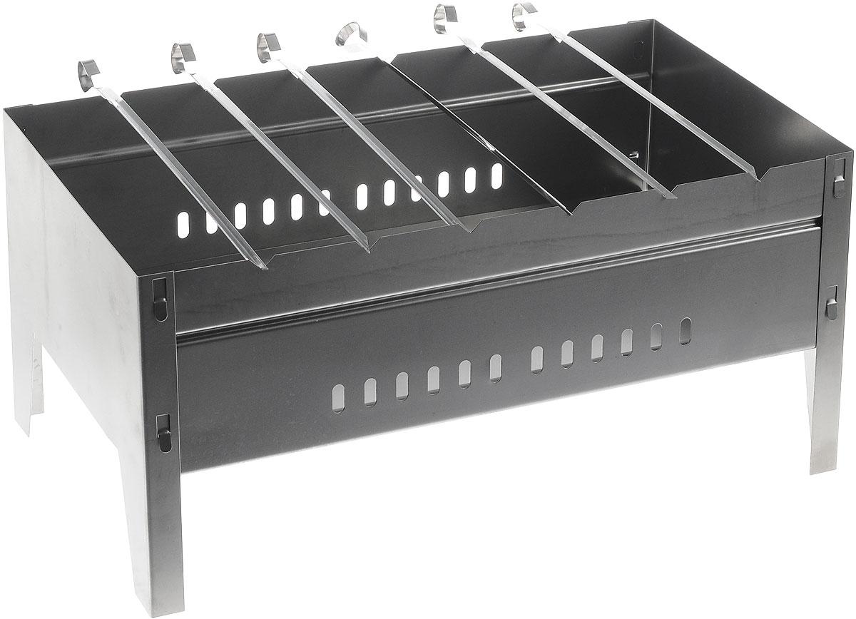 """Сборно-разборный мангал Пикничок """"Удобный"""" предназначен для приготовления продуктов на углях на открытом воздухе. Отличительная черта мангала - это его уникальный материал: высококачественная жаропрочная холоднокатаная листовая сталь толщиной 0,5 мм. Изделие имеет уникальную конструкцию - ножки мангала составляют единое целое с его торцевыми стенками. Это обеспечивает легкость и быстроту сборки, а также повышенную устойчивость. Мангал хорошо поддерживает жар и не требует большого количества угля. Треугольные пазы боковых стенок обеспечивают устойчивое положение шампуров на мангале. Изделие удобно брать с собой в поход или на пикник: в разобранном состоянии занимает минимум места и собирается всего за 2 минуты. В комплект входит 6 шампуров из нержавеющей стали и перчатки из хлопчатобумажной пряжи с ПВХ напылением."""