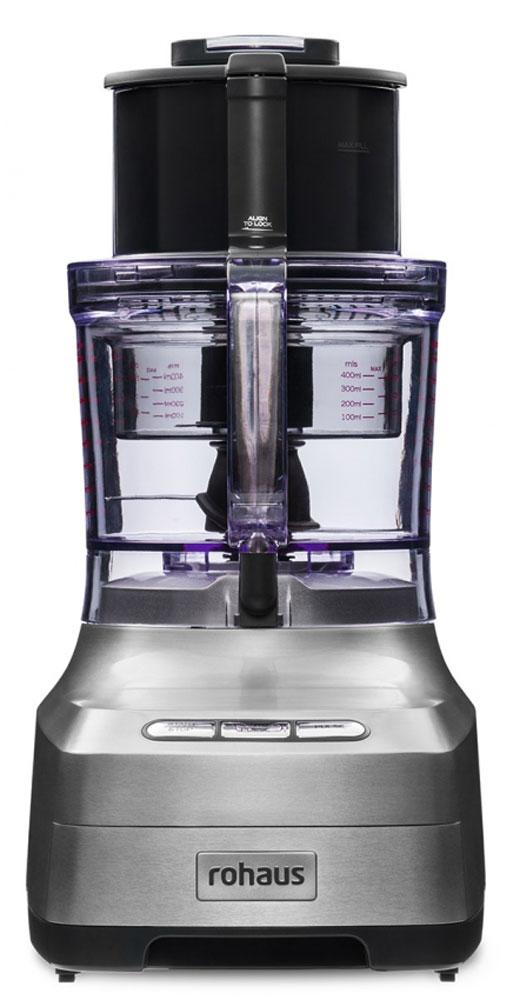 Rohaus RP910S, Silver кухонный комбайнRP910SКухонный комбайн Rohaus RP910S выполнен с применением долговечных деталей из нержавеющей стали, имеет 3 режима работы и набор функциональных насадок, что позволяет добиться идеальных результатов измельчения и нарезки для любых блюд, а возможность работы сразу в 2 чашах одновременно значительно ускоряет процесс приготовления многокомпонентных блюд.Подойдет для любого блюда: 6 насадок для нарезки различными способамиФункция Автопульс позволяет измельчать продукты, не превращая их в пюреУникальная компактность. Встроенный отсек для хранения насадокИндукционный двигатель мощностью 1400 Вт с гарантией 10 лет