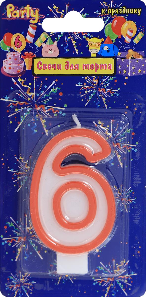 Action! Свеча-цифра для торта 6 лет цвет красный