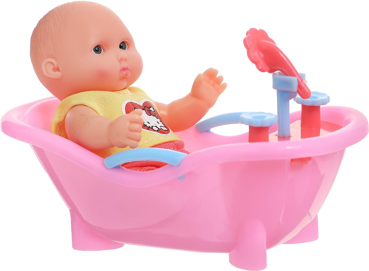 Карапуз Пупс Hello Kitty в ванночке увет розовый желтый куклы карапуз пупс карапуз hello kitty