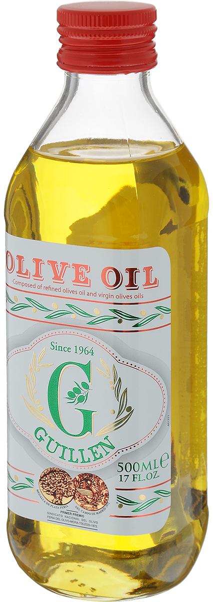 Guillen масло оливковое 100%, 500 мл32125Масло оливковое рафинированное Guillen с добавлением масел оливковых нерафинированных.Оливковое масло первого холодного отжима.