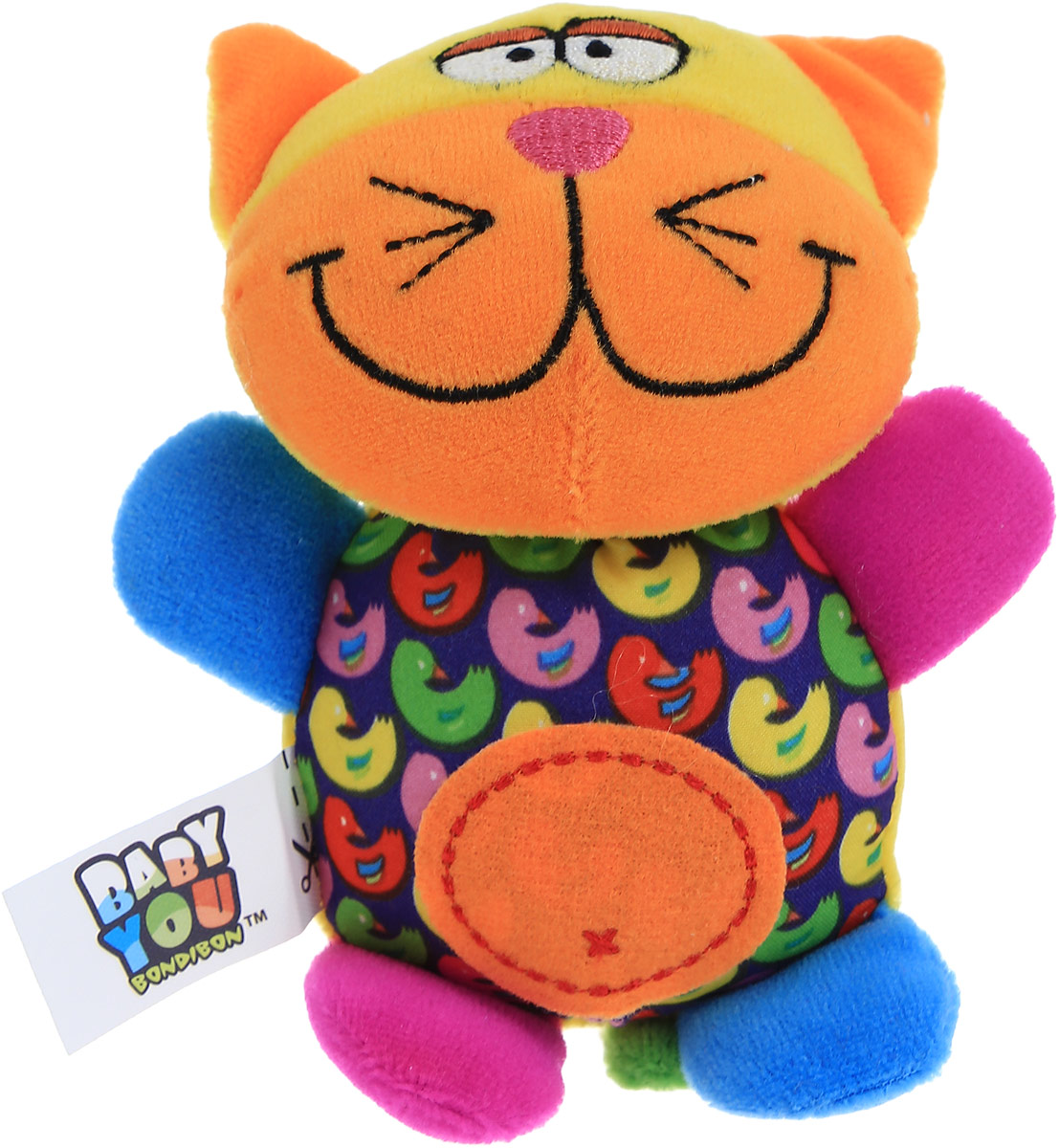 Bondibon Мягкая игрушка-погремушка Котик bondibon мягкая игрушка погремушка слоник