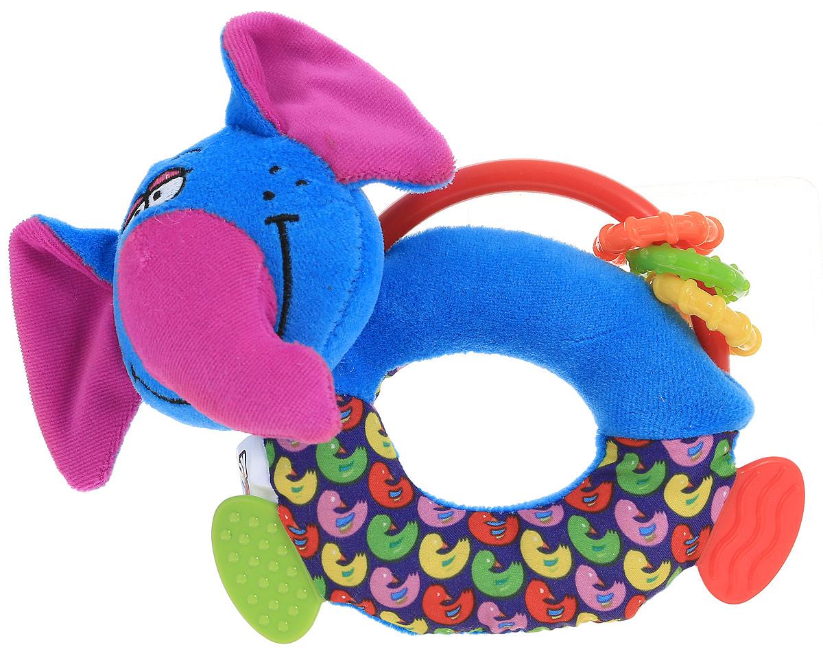 Bondibon Мягкая игрушка-погремушка Слон-пищалка с прорезывателями bondibon мягкая игрушка погремушка слоник