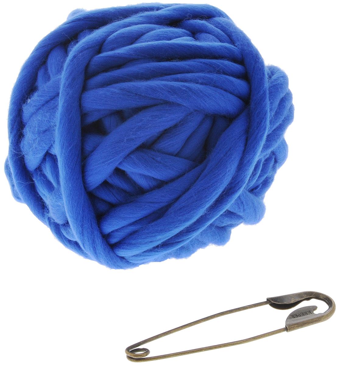 """Набор для вязания из толстой пряжи Knitberry """"Треугольный шарф"""", цвет: синий"""