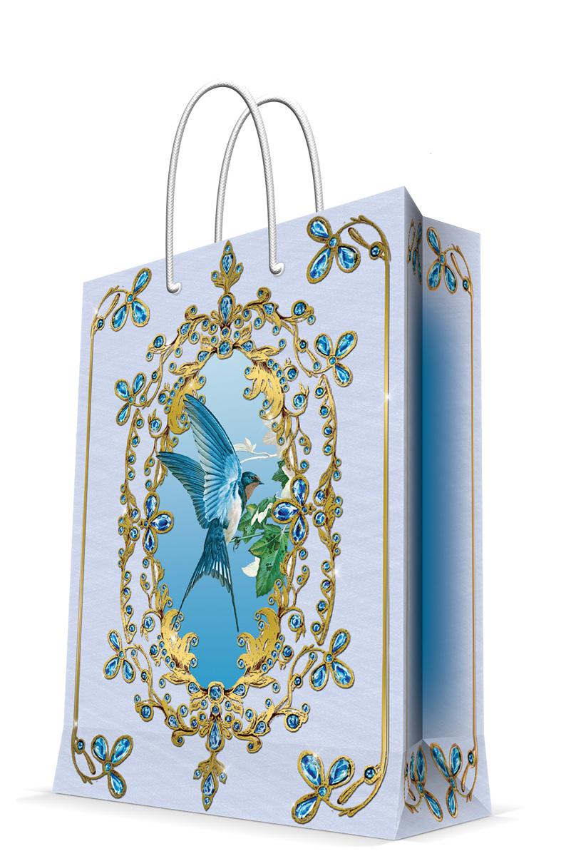 Пакет подарочный Magic Home Ласточка, 17,8 х 22,9 х 9,8 см43505Подарочный пакет Magic Home, изготовленный из плотной бумаги, станет незаменимым дополнением к выбранному подарку. Дно изделия укреплено картоном, который позволяет сохранить форму пакета и исключает возможность деформации дна под тяжестью подарка. Пакет выполнен с глянцевой ламинацией, что придает ему прочность, а изображению - яркость и насыщенность цветов. Для удобной переноски имеются две ручки в виде шнурков.Подарок, преподнесенный в оригинальной упаковке, всегда будет самым эффектным и запоминающимся. Окружите близких людей вниманием и заботой, вручив презент в нарядном, праздничном оформлении.Плотность бумаги: 140 г/м2.