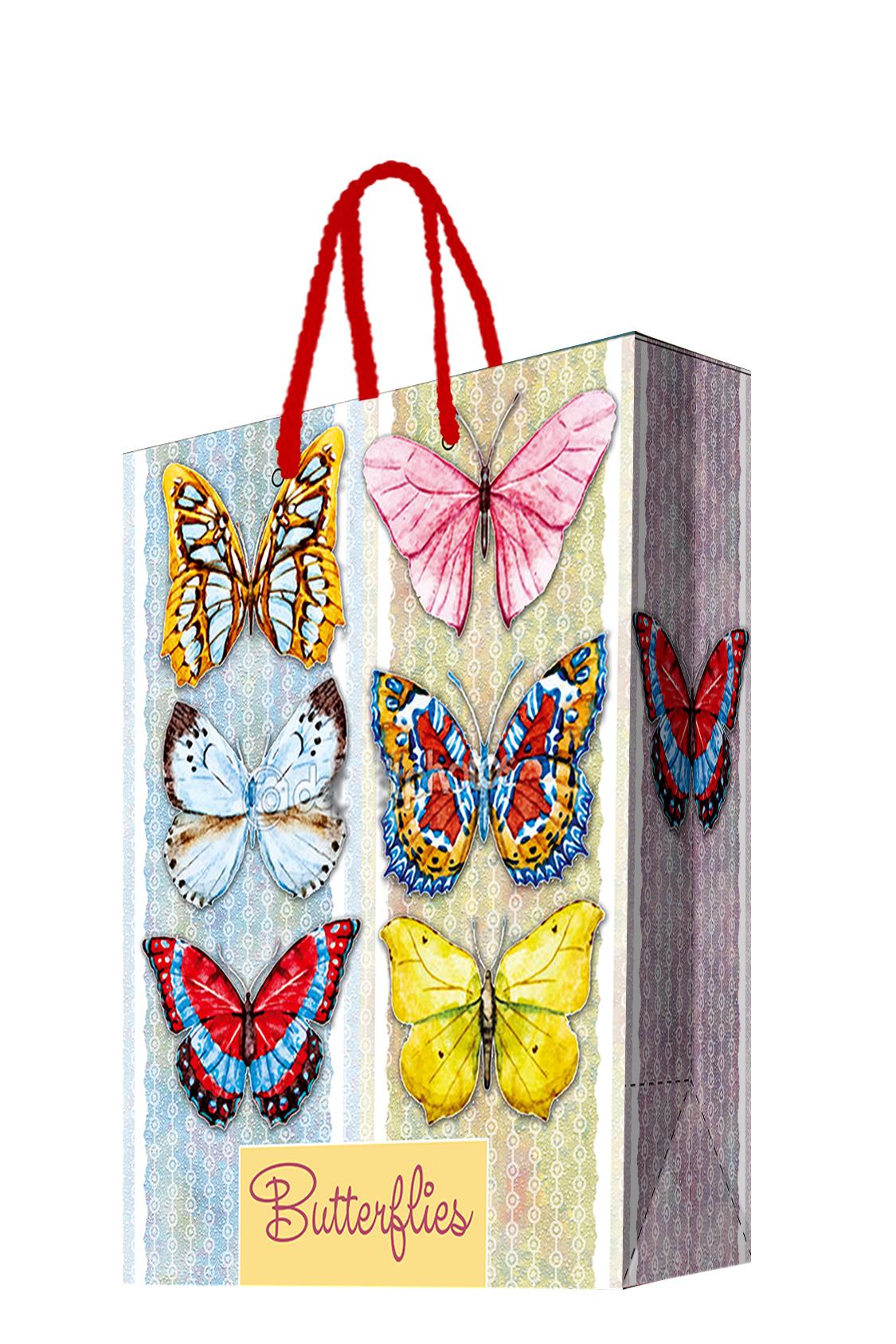 Пакет подарочный Magic Home Тропические бабочки, 17,8 х 22,9 х 9,8 см44183Подарочный пакет Magic Home, изготовленный из плотной бумаги, станет незаменимым дополнением к выбранному подарку. Дно изделия укреплено картоном, который позволяет сохранить форму пакета и исключает возможность деформации дна под тяжестью подарка. Пакет выполнен с глянцевой ламинацией, что придает ему прочность, а изображению - яркость и насыщенность цветов. Для удобной переноски имеются две ручки в виде шнурков.Подарок, преподнесенный в оригинальной упаковке, всегда будет самым эффектным и запоминающимся. Окружите близких людей вниманием и заботой, вручив презент в нарядном, праздничном оформлении.Плотность бумаги: 140 г/м2.