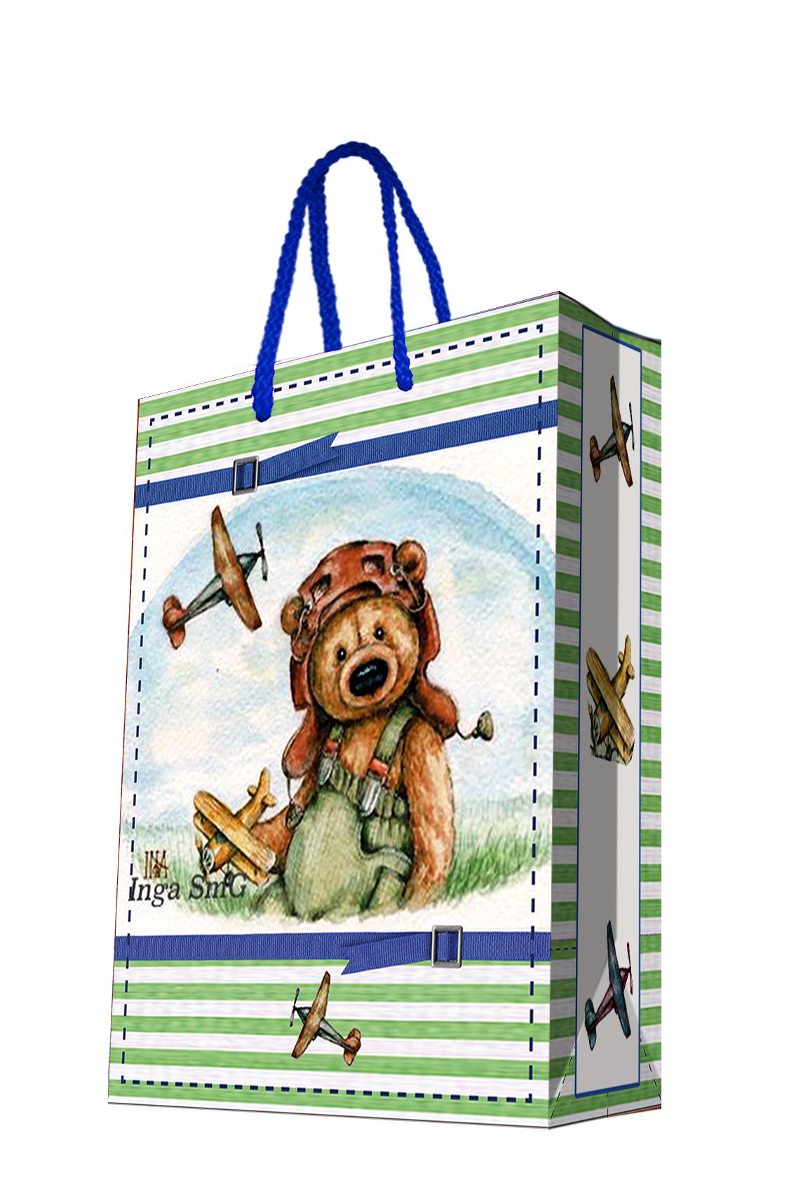 Пакет подарочный Magic Home Мишка-летчик, 26 х 32,4 х 12,7 см44192Подарочный пакет Magic Home, изготовленный из плотной бумаги, станет незаменимым дополнением к выбранному подарку. Дно изделия укреплено картоном, который позволяет сохранить форму пакета и исключает возможность деформации дна под тяжестью подарка. Пакет выполнен с глянцевой ламинацией, что придает ему прочность, а изображению - яркость и насыщенность цветов. Для удобной переноски имеются две ручки в виде шнурков.Подарок, преподнесенный в оригинальной упаковке, всегда будет самым эффектным и запоминающимся. Окружите близких людей вниманием и заботой, вручив презент в нарядном, праздничном оформлении.Плотность бумаги: 140 г/м2.