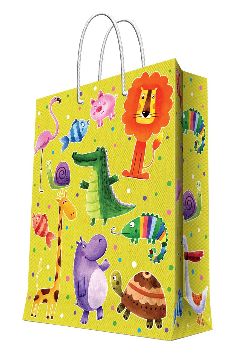 Пакет подарочный Magic Home Веселые зверята, 26 х 32,4 х 12,7 см44205Подарочный пакет Magic Home, изготовленный из плотной бумаги, станет незаменимым дополнением к выбранному подарку. Дно изделия укреплено картоном, который позволяет сохранить форму пакета и исключает возможность деформации дна под тяжестью подарка. Пакет выполнен с глянцевой ламинацией, что придает ему прочность, а изображению - яркость и насыщенность цветов. Для удобной переноски имеются две ручки в виде шнурков.Подарок, преподнесенный в оригинальной упаковке, всегда будет самым эффектным и запоминающимся. Окружите близких людей вниманием и заботой, вручив презент в нарядном, праздничном оформлении.Плотность бумаги: 140 г/м2.
