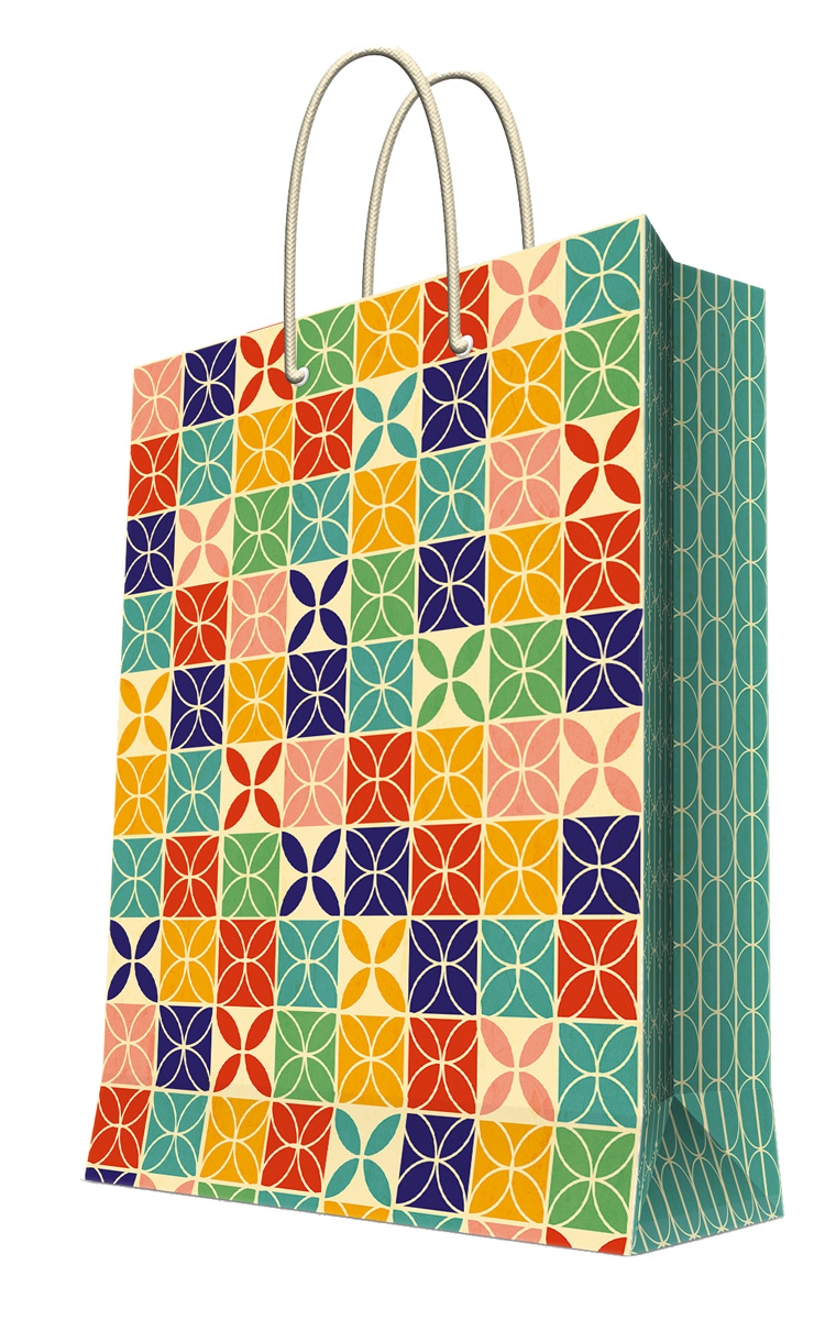 Пакет подарочный Magic Home Геометрический узор, 26 х 32,4 х 12,7 см44206Подарочный пакет Magic Home, изготовленный из плотной бумаги, станет незаменимым дополнением к выбранному подарку. Дно изделия укреплено картоном, который позволяет сохранить форму пакета и исключает возможность деформации дна под тяжестью подарка. Пакет выполнен с глянцевой ламинацией, что придает ему прочность, а изображению - яркость и насыщенность цветов. Для удобной переноски имеются две ручки в виде шнурков.Подарок, преподнесенный в оригинальной упаковке, всегда будет самым эффектным и запоминающимся. Окружите близких людей вниманием и заботой, вручив презент в нарядном, праздничном оформлении.Плотность бумаги: 140 г/м2.