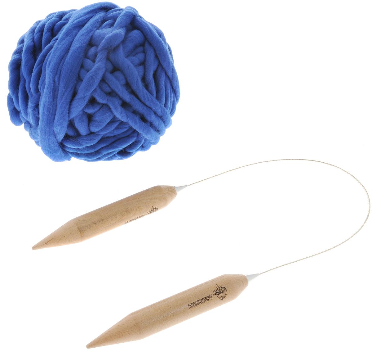 """Набор для вязания из толстой пряжи Knitberry """"Шапка с помпоном"""", цвет: синий"""