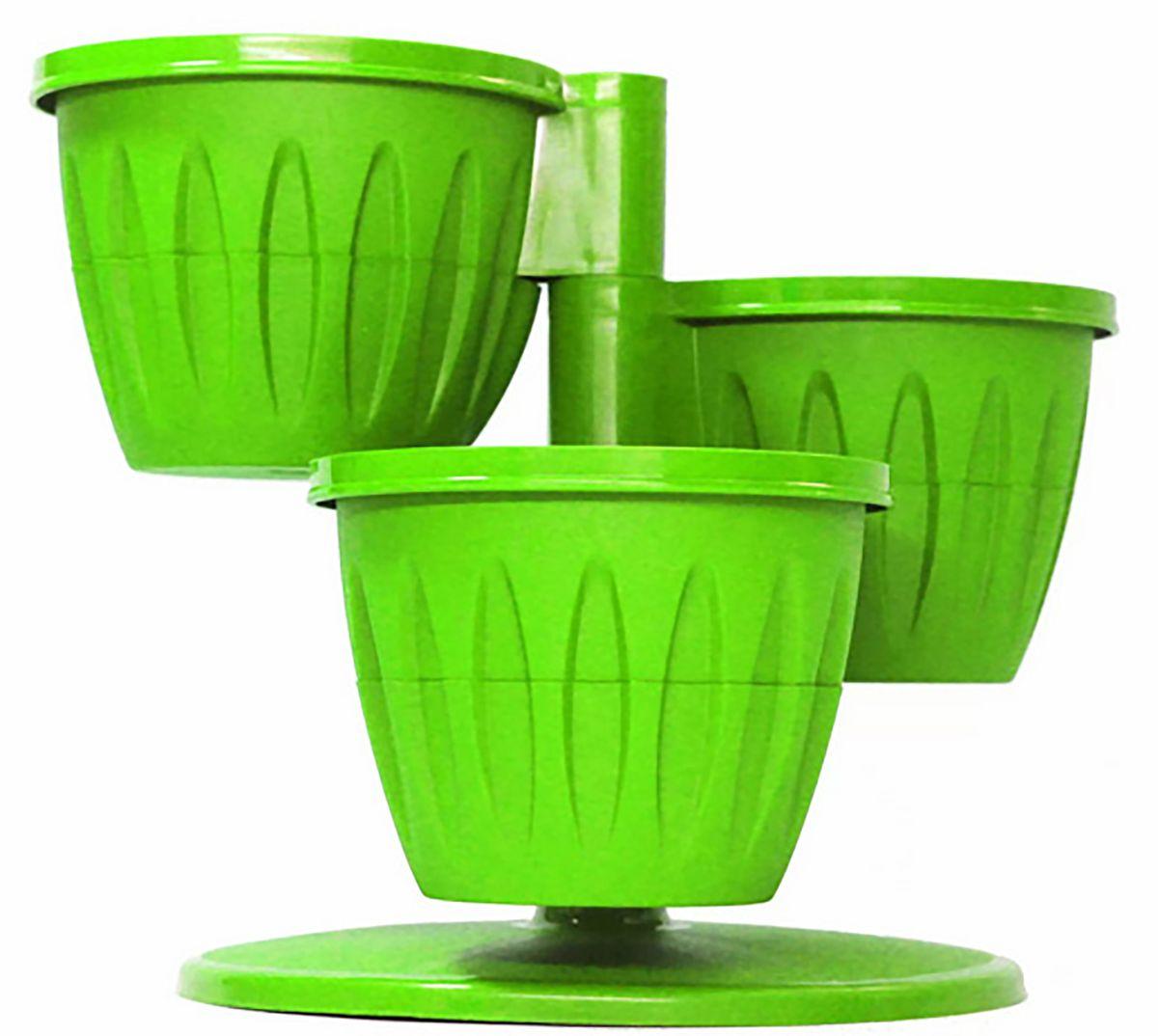 Цветочный каскад JetPlast Каскад, с подставкой, цвет: фисташковый, 29 x 23 см4612754051915Цветочный каскад JetPlast выполнен из полипропилена. Он состоит из трех горшков, установленных на одну подставку. Каждый горшок состоит из двух частей: в верхнюю высаживается растение, а нижняя часть используется как резервуар для воды. Цветочный каскад позволит вам эффективно использовать площадь подоконника для высадки растений.