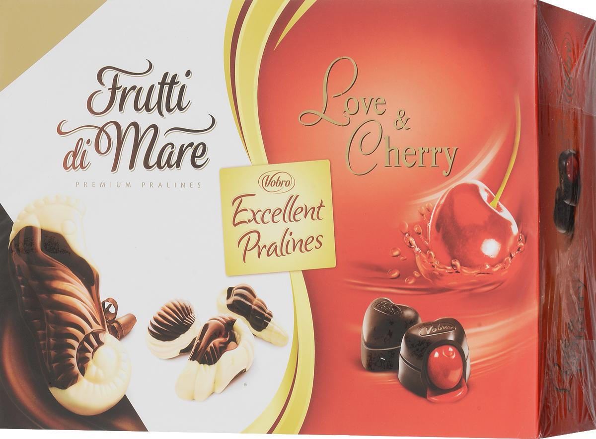 Vobro Exellent Pralines набор шоколадных конфет, 330 г10058_вид 3Двойная радость от чувственных шоколадных конфет в элегантной упаковке. Набор конфеты Excellent Pralines оправдает ожидания всех гурманов шоколадных конфет, которые не любят себе отказывать в любимых вкусах. Excellent Pralines - это сочетание двух вкусов: конфет с вишней в алкоголе Love & Cherry и тонких пралине Frutti di Mare, созданных в композиции белого и темного шоколада с деликатным кремовым наполнением. Содержимое коробки - это незабываемые вкусовые ощущения.Уважаемые клиенты! Обращаем ваше внимание, что полный перечень состава продукта представлен на дополнительном изображении.