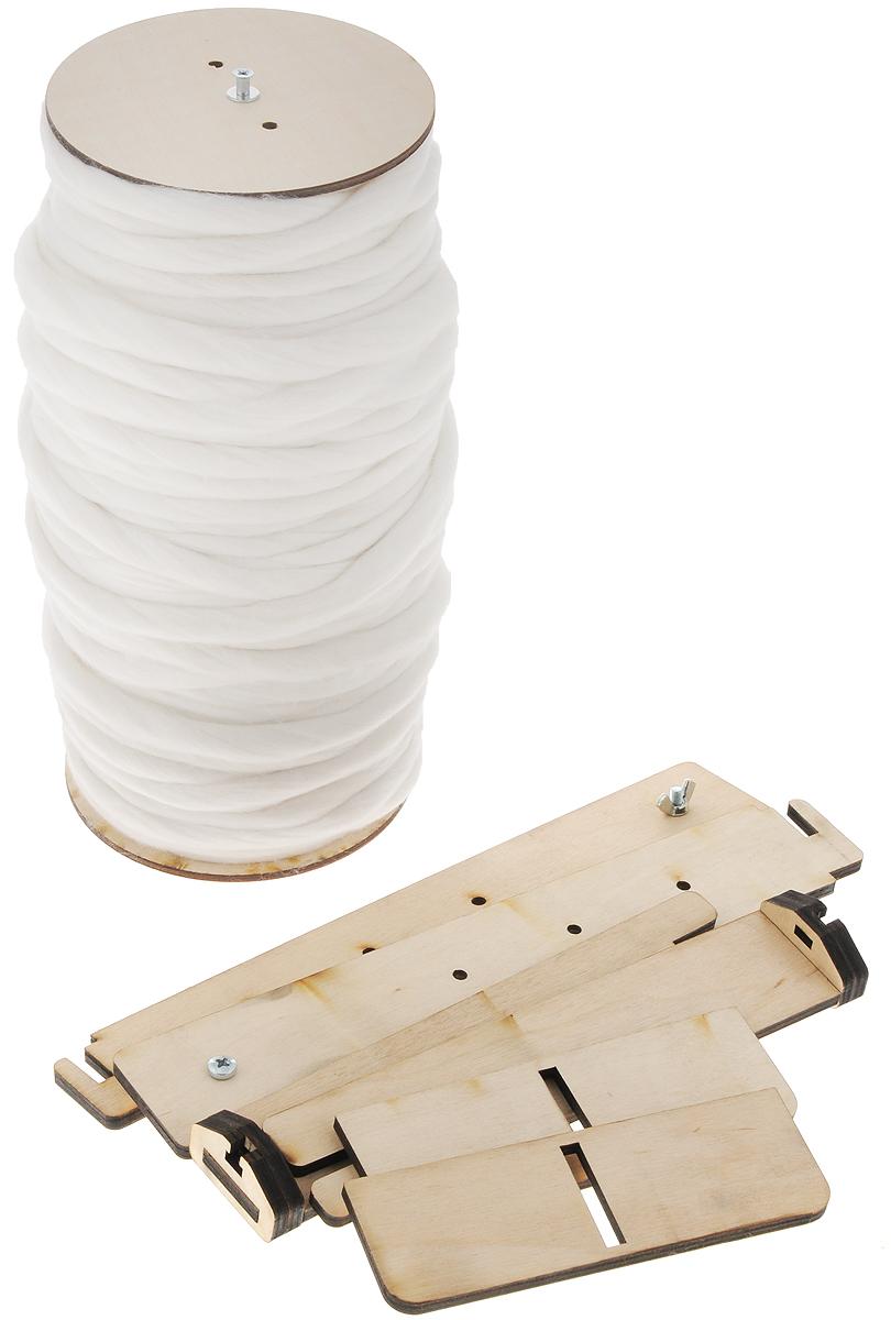 "Набор для вязания из толстой пряжи Knitberry ""Плед рыхлой вязки"", цвет: белый, 80 х 120 см"