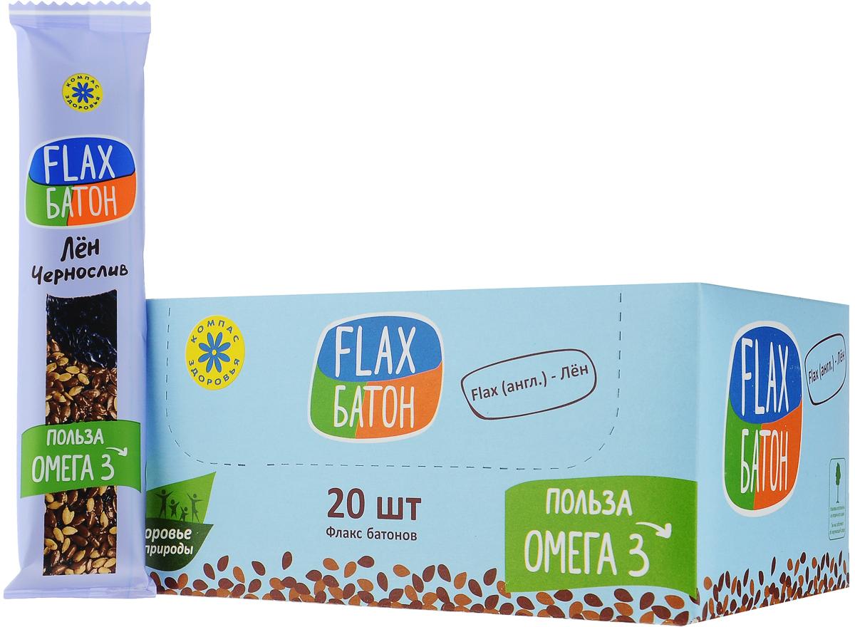 Компас Здоровья Flax батончик с черносливом, 30 г (20 шт) take a slim bite мята шоколад батончик фруктово ягодный 30 шт по 30 г