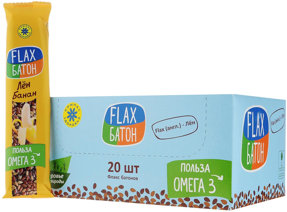 Компас Здоровья Flax батончик с бананом, 30 г (20 шт) компас здоровья корица молотая 60 г