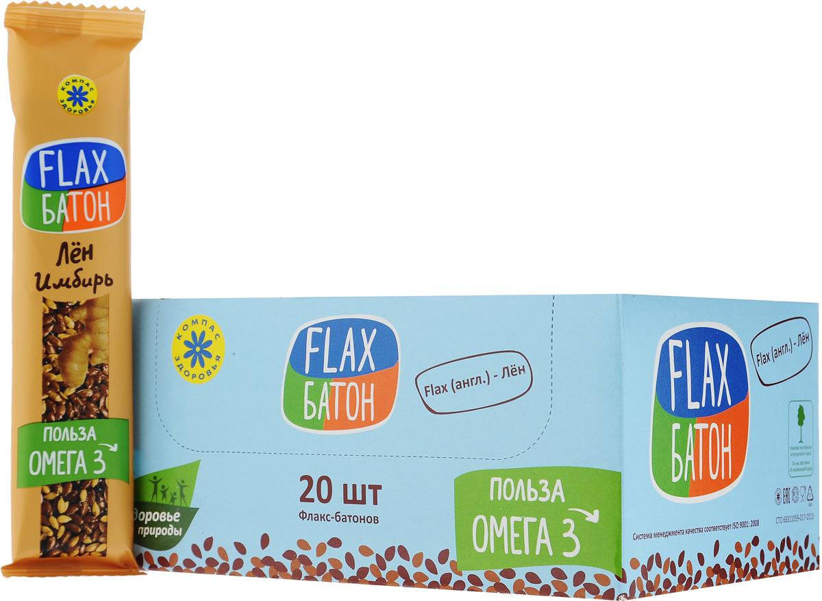 Компас Здоровья Flax батончик с имбирем, 30 г (20 шт) take a slim bite мята шоколад батончик фруктово ягодный 30 шт по 30 г