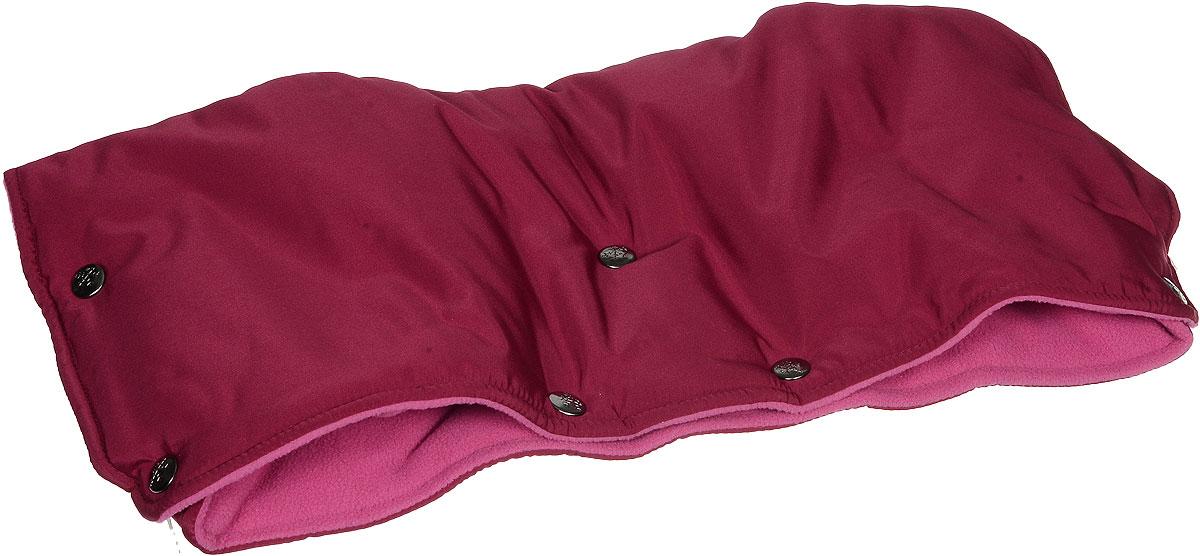 Чудо-Чадо Муфта для рук на коляску флисовая на кнопках цвет вишневый