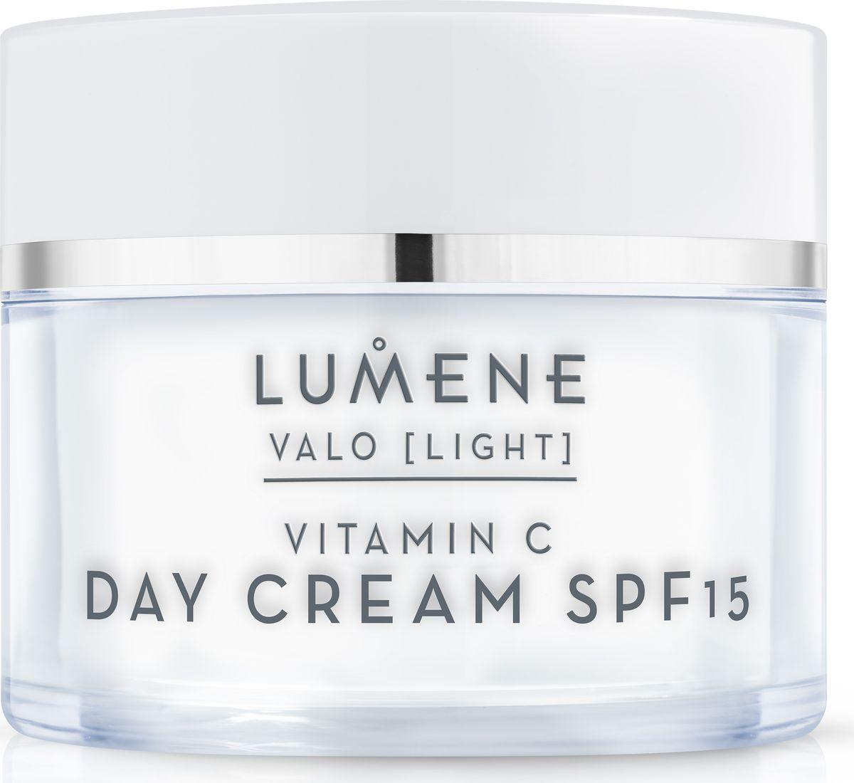 Lumene Valo Дневной крем SPF 15 Vitamin C, 50 млNL581-80242Дневной крем восстанавливает баланс влаги в коже, улучшает и выравнивает цвет лица, борется с появлением первых признаков старения. Светоотражающие пигменты мгновенно освежают цвет лица. Содержит солнцезащитный фильтр.