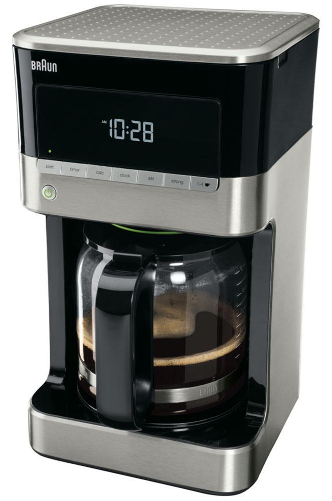 Braun KF 7120 капельная кофеваркаKF7120Капельная кофеварка Braun KF 7120 имеет эксклюзивный дизайн и множество программируемых функций для максимально бодрого начала дня.Технология OptiBrewSystem позволяет оптимизировать температуру, время заваривания и экстракцию молотого кофе, что дает идеально сбалансированный вкус.Основные параметры можно выбрать одним касанием кнопки. Вся необходимая информация отображается на удобном LCD-дисплее.Наслаждайтесь кофе идеального вкуса независимо от того, сколько чашек вы готовите, без ущерба для аромата и вкуса.В кофеварке используются бумажные (одноразовые) фильтры.
