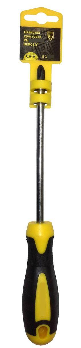 Отвертка крестовая Berger, PH3 x 150 мм. BG1049BG1049Крестовая отвертка Berger широко используется для выполнения крепежных операций вручную при необходимости сборки или ремонта различных конструкций. Отвертка очень удобно располагается в ладони благодаря эргономичной форме рукояти. Рабочая часть выполнена из высококачественной хром-ванадиевой стали, что значительно повышает срок службы изделия.