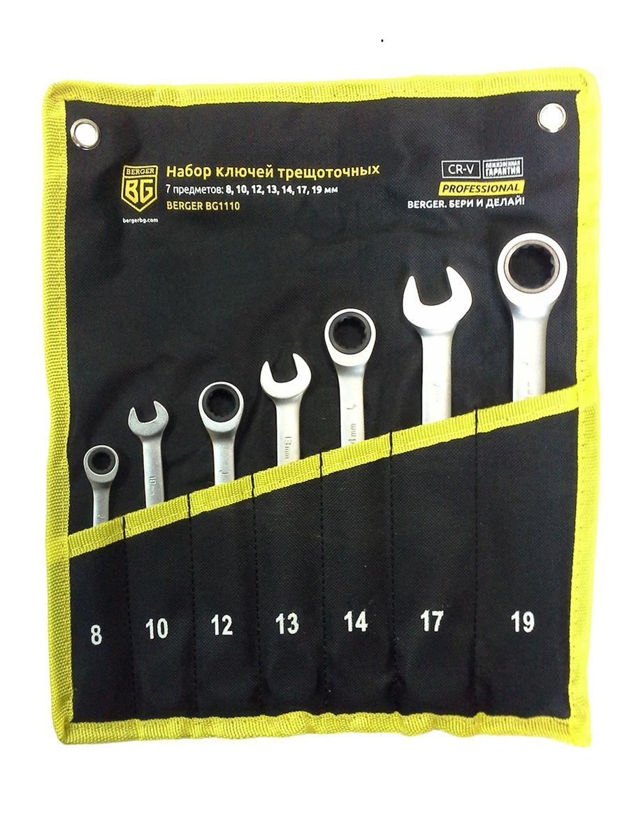 Набор комбинированных ключей Berger, трещоточных, 7 предметов. BG1110BG1110Набор комбинированных трещоточных ключей Berger изготовлен из хром-ванадиевой стали. Набор предназначен для монтажа и демонтажа резьбовых соединений. В набор входят ключи: 8, 10, 12, 13, 14, 17, 19 мм.
