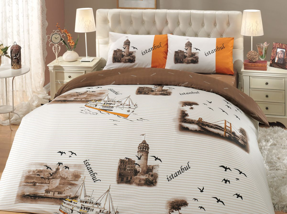 Комплект белья Hobby Home Collection Istanbul, семейный, наволочки 50x70, 70x70, цвет: коричневый