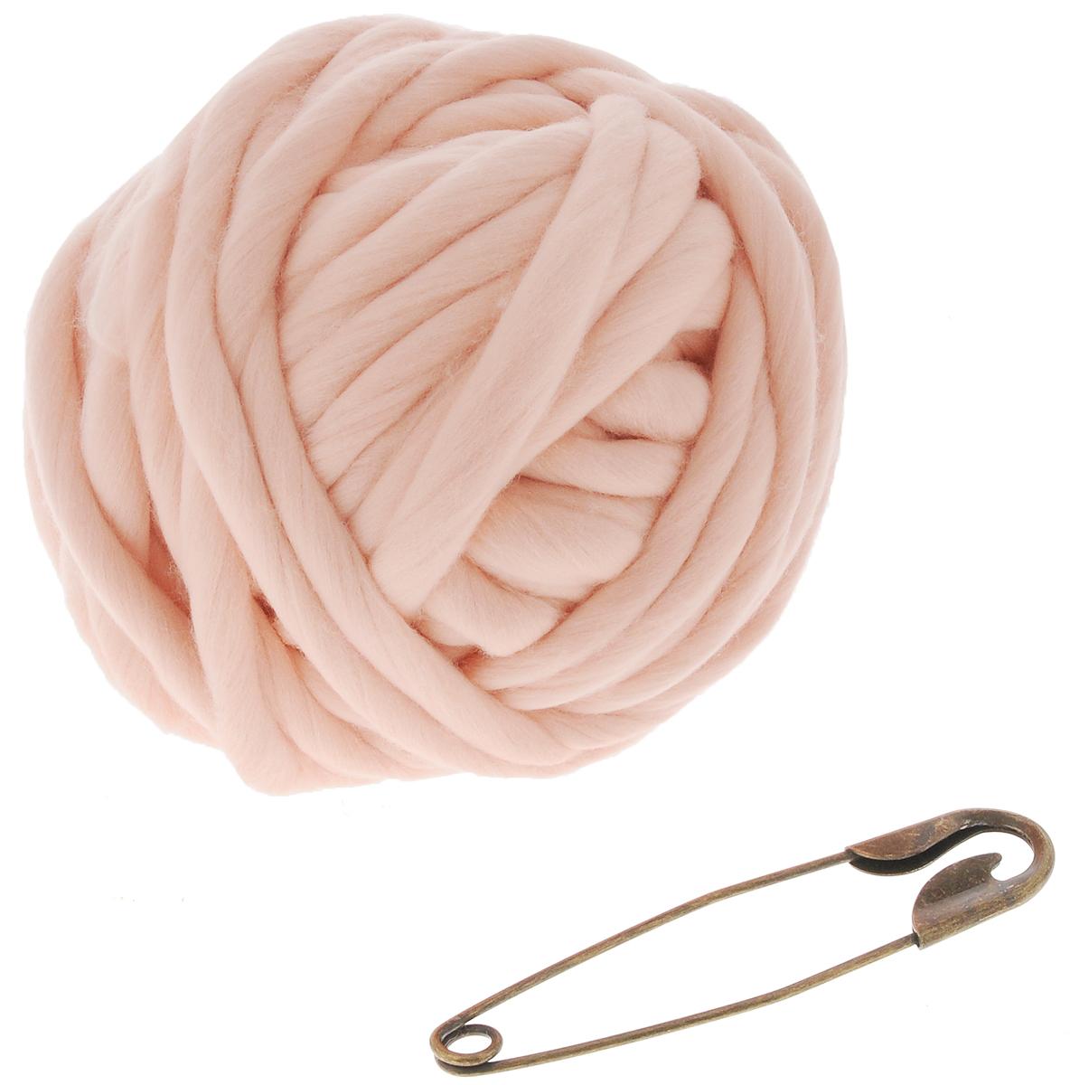 """Набор для вязания из толстой пряжи Knitberry """"Треугольный шарф"""", цвет: светло-розовый"""