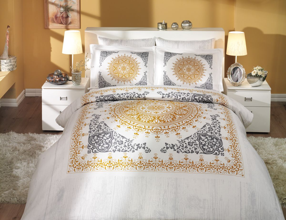 Комплект белья Hobby Home Collection Saphire, семейный, наволочки 50x70, 70x70, цвет: золото hobby collection hobby collection saphire