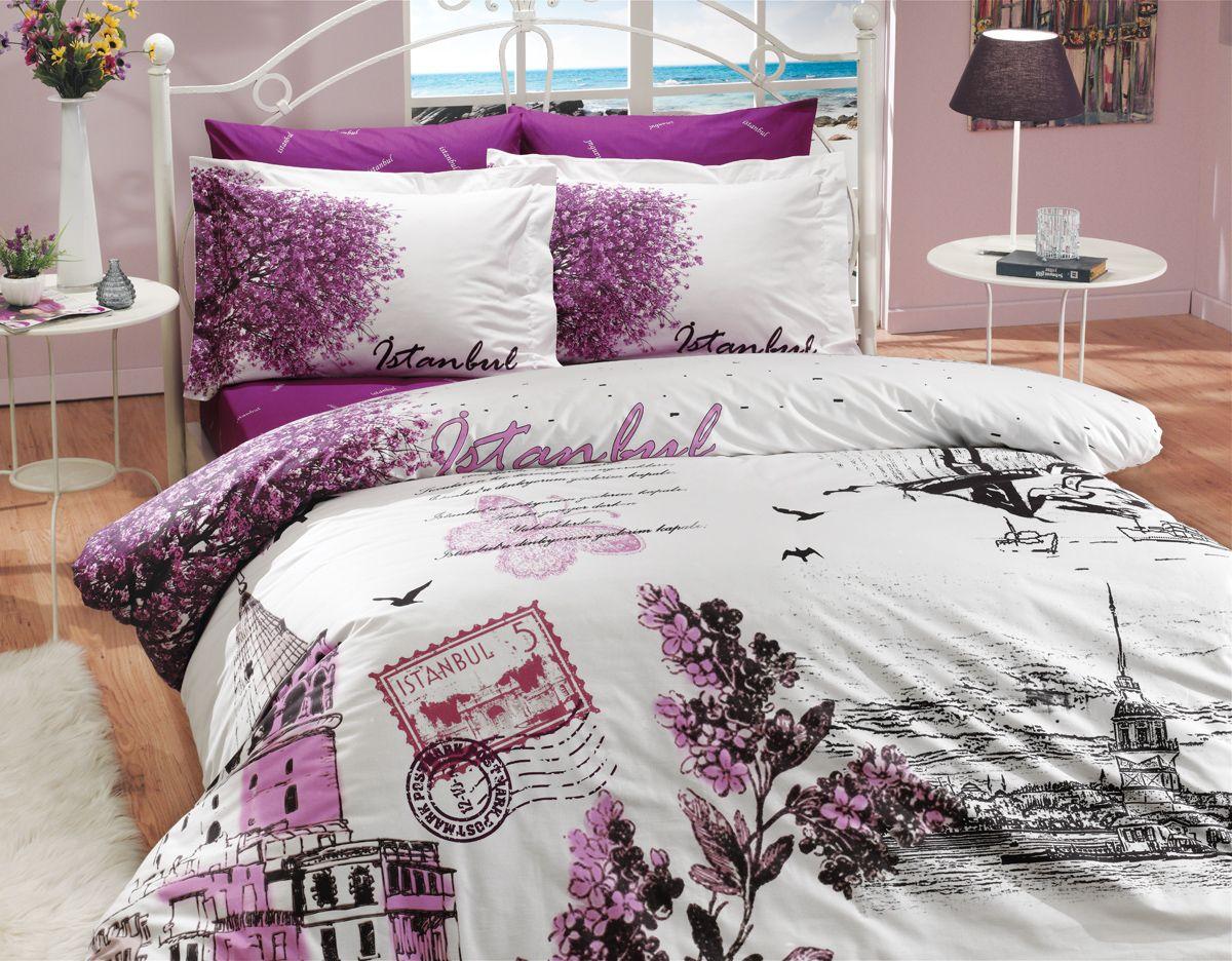 Комплект белья Hobby Home Collection Istanbul Panaroma, 2-спальный, наволочки 70x70, цвет: фиолетовый