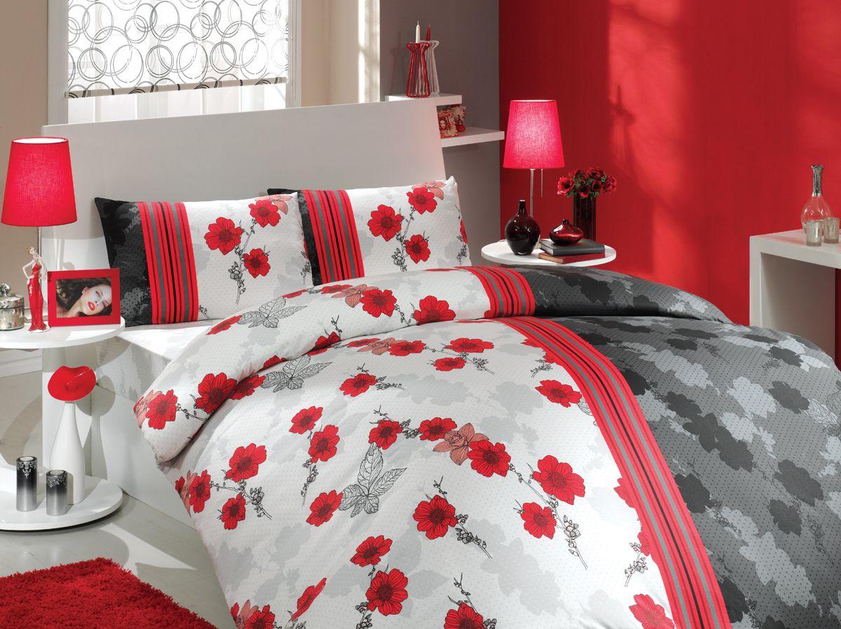 Комплект белья Hobby Home Collection Liana, семейный, наволочки 50x70, 70x70, цвет: красный платье liana