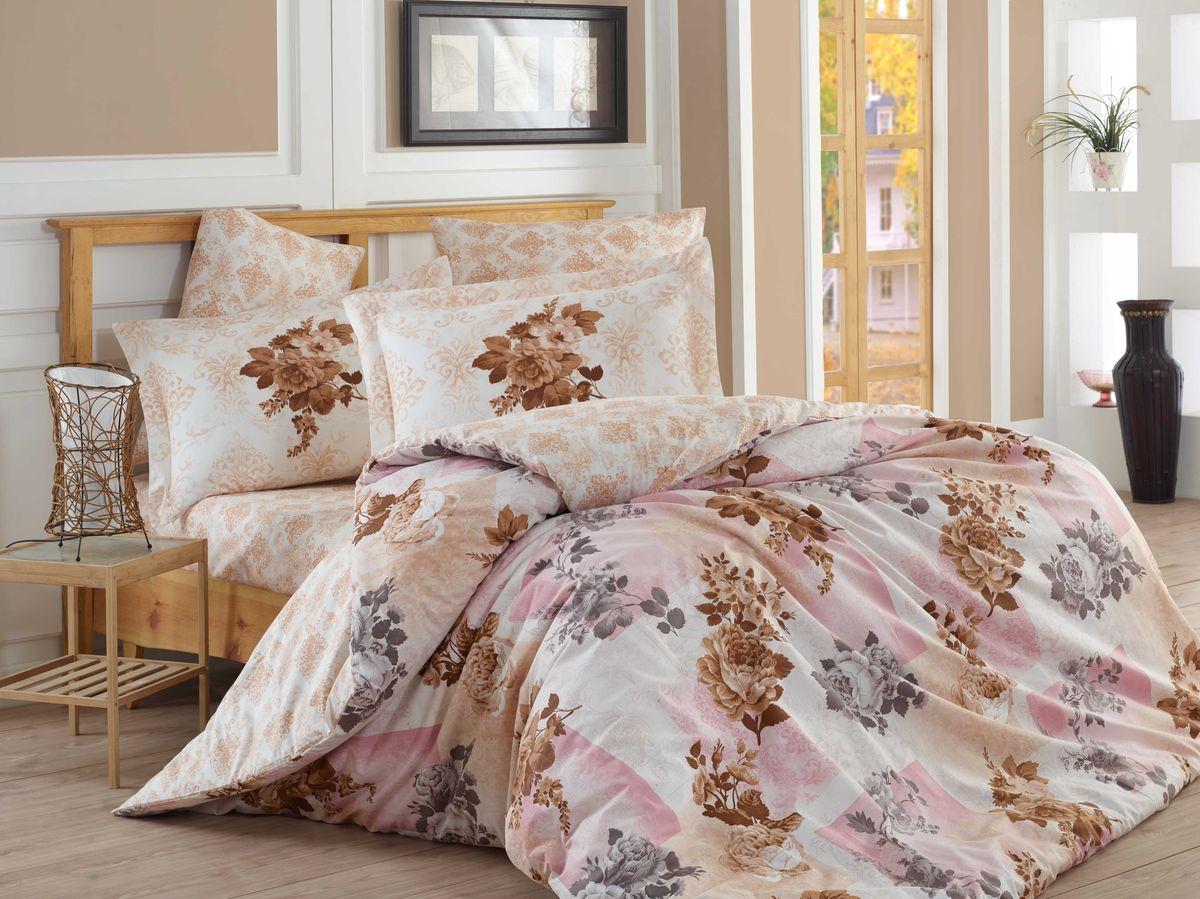 Комплект белья Hobby Home Collection Elvira, евро, наволочки 50x70, 70x70, цвет: светло-розовый1501001115Комплект белья Hobby Home Collection состоит из простыни, пододеяльника и 4 наволочек. Белье выполнено из поплина - это ткань из 100% натурального хлопка. По легенде этот материал впервые произвели во французской резиденции Папы Римского, городе Авиньон. За это ткань назвали поплином, что означает папский. По своим характеристикам она напоминает бязь, однако, на ощупь гораздо более мягкая и гладкая. Прекрасные потребительские качества обеспечили поплину популярность у розничного покупателя: ткань не выцветает и не мнется, ее можно не гладить вообще; не линяет и не деформируется при стирке до сорока градусов; на сто процентов состоит из натуральных хлопковых волокон.Советы по выбору постельного белья от блогера Ирины Соковых. Статья OZON Гид