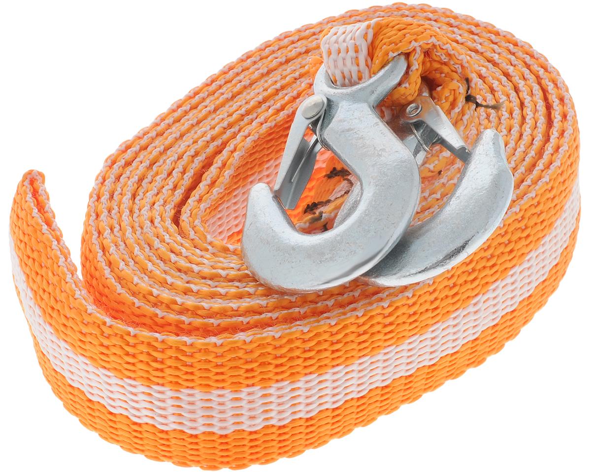 Трос буксировочный Azard, ленточный, с 2 крюками, цвет: оранжевый, белый, 8 т, 4,5 мТР000015_оранжевый,белая полосаБуксировочный трос Azard представляет собой ленту из сверхпрочнойполиамидной (капроновой) нити и два стальных крюка. Специальное плетение ленты обеспечивает эластичность троса и плавный старт автомобиля при буксировке. На протяжении всего срока службы не меняет свои линейные размеры.Трос морозостойкий, влагостойкий и устойчив к агрессивным средами воздействию нефтепродуктов. Длина троса соответствует ПДД РФ.Буксировочный трос обязательно должен быть в каждом автомобиле. Он необходим на случай аварийной ситуации или если ваш автомобиль застрял на бездорожье.Максимальная нагрузка: 8 т.Длина троса: 4,5 м.