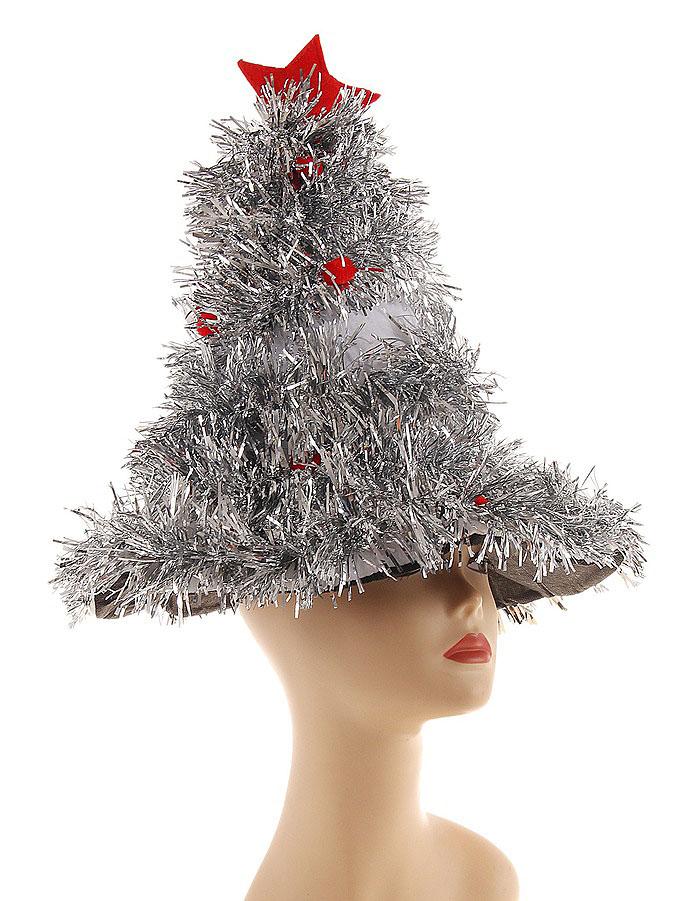 """Карнавальная шляпа Sima-land """"Елочка"""", цвет: серебристый, красный. 327161"""