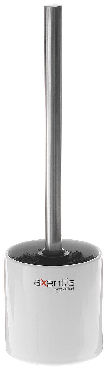 Ершик для унитаза Axentia Bianco, с подставкой, высота 35 см282453Ершик для унитаза Axentia имеет ручку из нержавеющей стали и белую щетку, с жестким густым ворсом. Подставка, изготовленная из натуральной и элегантной керамики белого цвета. Высококачественные материалы позволят наслаждаться покупкой долгие годы. Изделие приятно дополнит интерьер вашей туалетной комнаты.