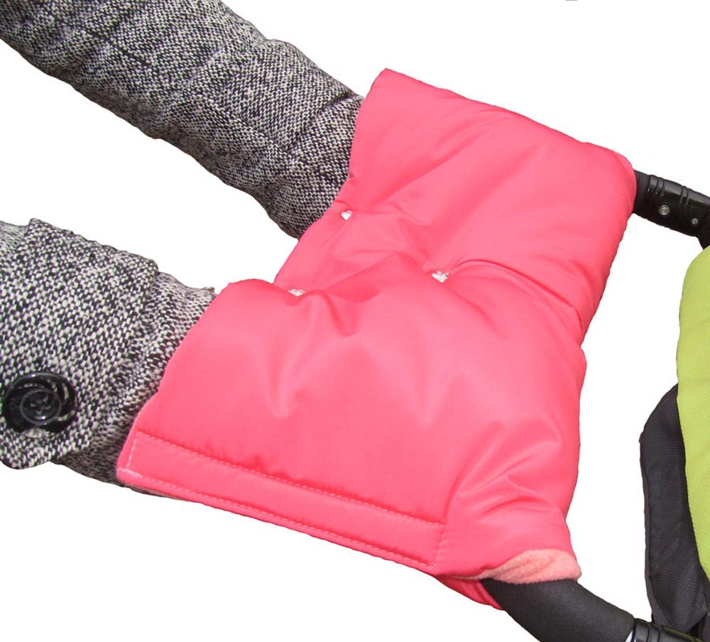 Чудо-Чадо Муфта для рук на коляску флисовая на кнопках с липучками цвет коралловый