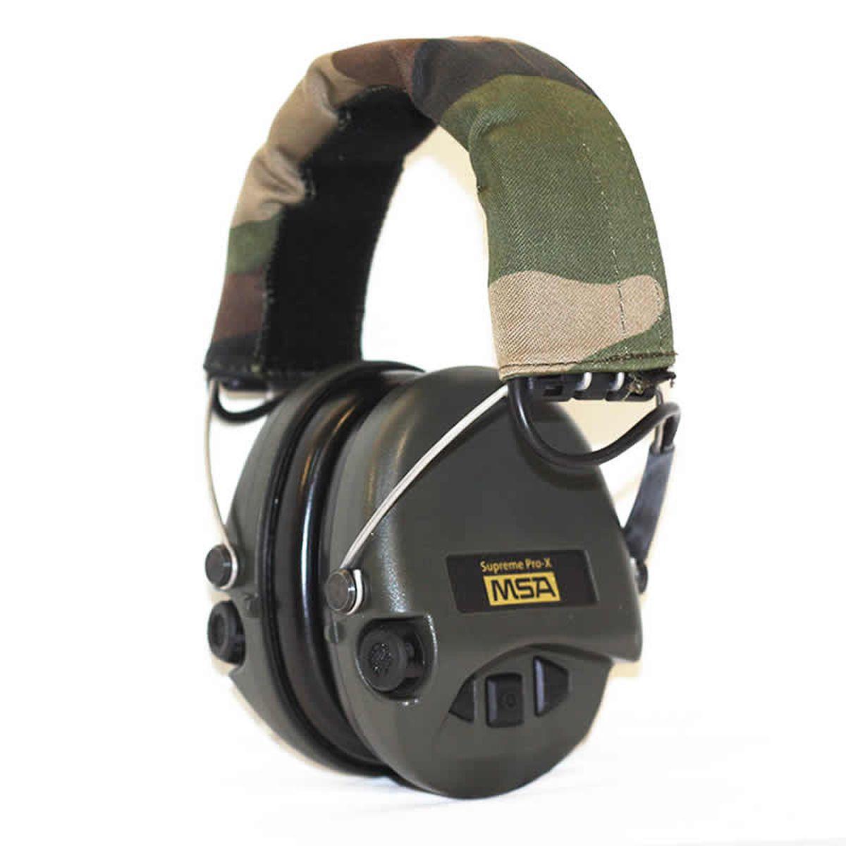 """Активные наушники MSA Sordin """"Supreme Pro-Х"""" предназначены для стрельбы и охоты.  Усиливают слабый звук в 4 раза до 27 Дц и уменьшают шум до 82 Дц.  Звуковая картинка на 360° градусов, звук Stereo.  Два отдельных ветро-влагозащищенных микрофона.  Влагозащищенный батарейный отсек.  Звуковая пауза после отсечки шумовой волны менее 0,6 сек.  Широкие кнопки включения с регулировкой громкости звука – 4 положения.  Складные соединительные дужки, из прочной проволочной стали, покрытой  антикоррозийным лаком. Дужки отделаны кожей.  Предусмотрено прослушивание аудиозаписей через плеер/телефон, но основная  функция – прослушивание сообщений через переносную радиостанцию.  Возможно использование PTT (двух-полосная связь).  Автоматическое отключение через 4 часа после начала использования. Предупреждение  звуковым сигналом за 40 часов о низком заряде батареи.  В комплекте две батарейки ААА, разъем AUX 3,5 мм, кабель.  Вес: 310 г.  Гарантия: 1 год."""