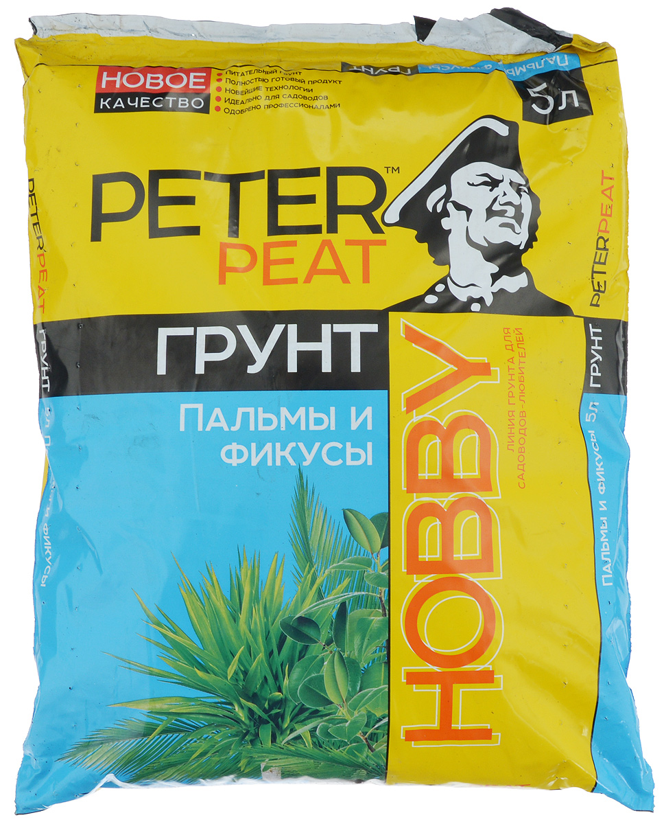 Грунт для растений Peter Peat Пальмы и фикусы, 5 лХ-09-5Peter Peat Пальмы и фикусы - это готовый к применению питательный торфяной грунт. Грунт предназначен для выращивания пальм, фикусов, монстеры, юкки и других крупномерных растений. Способствует приживаемости растений и улучшает их декоративные качества.