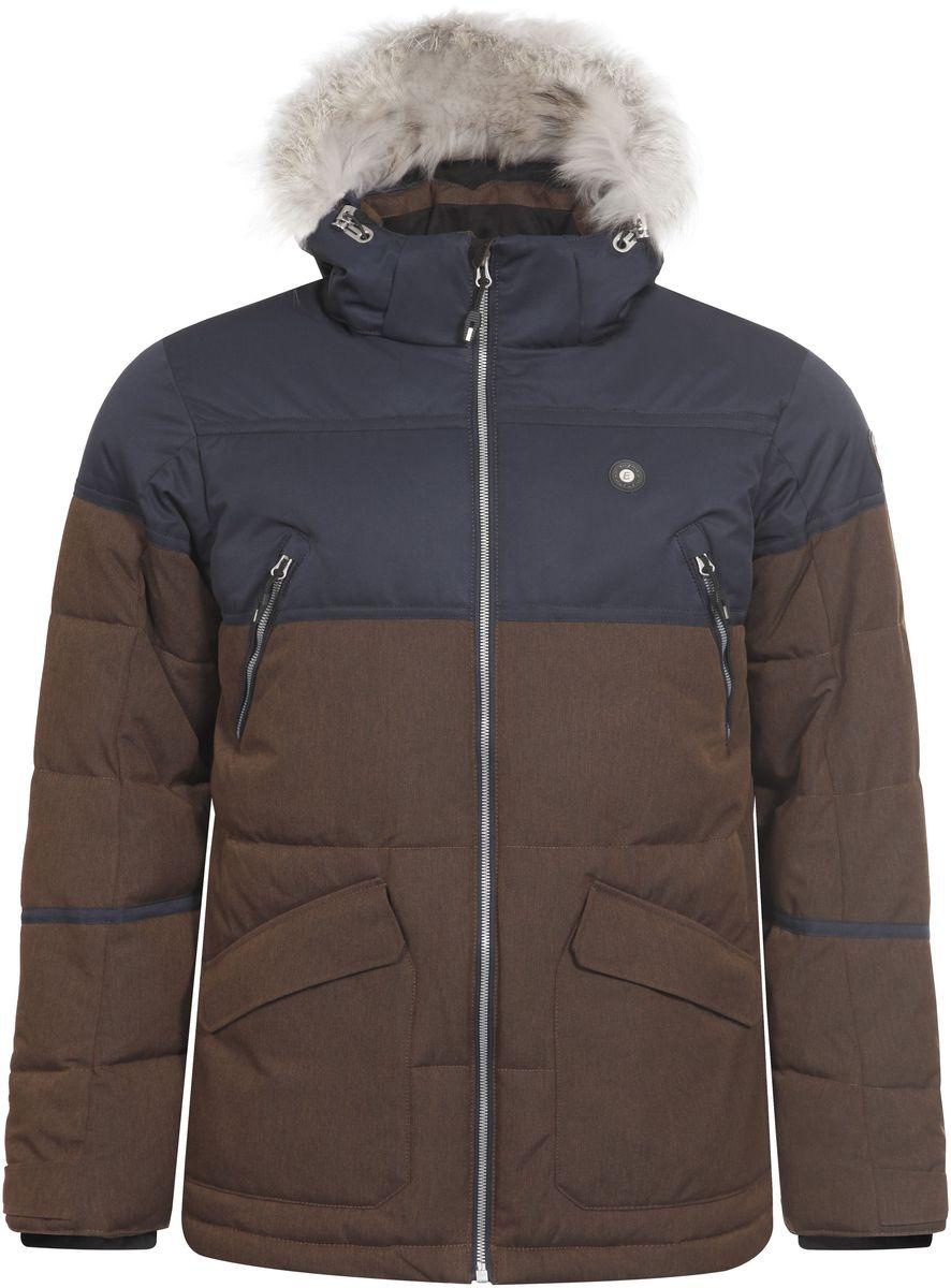 Куртка мужская Icepeak Carl, цвет: коричневый, темно-синий. 656225626IV. Размер XXL (56)656225626IV_150Мужская куртка Icepeak Carl выполнена из водонепроницаемой и дышащей ткани - высококачественного полиэстера. Подкладочный материал Super Soft Touch легкий и обладает хорошей теплоемкостью. В качестве наполнителя используется FinnWad - 100% полиэстер. Модель с воротником-стойка и съемным капюшоном застегивается на застежку-молнию. Капюшон, оформленный искусственным мехом, пристегивается к куртке с помощью застежки-молнии, кнопок и липучек. Изделие оснащено двумя накладными карманами на застежках-молниях и с клапанами на липучках, на груди - двумя прорезными карманами на застежках-молниях, с внутренней стороны - прорезным карманом на застежке-молнии. Рукава дополнены внутренними текстильными манжетами и регулируются с помощью хлястиков с липучками. Объем капюшона регулируется при помощи эластичного шнурка и хлястика на липучке. Низ изделия также оснащен эластичным шнурком со стопперами. С внутренней стороны куртка имеет снегозащитный манжет на кнопках.