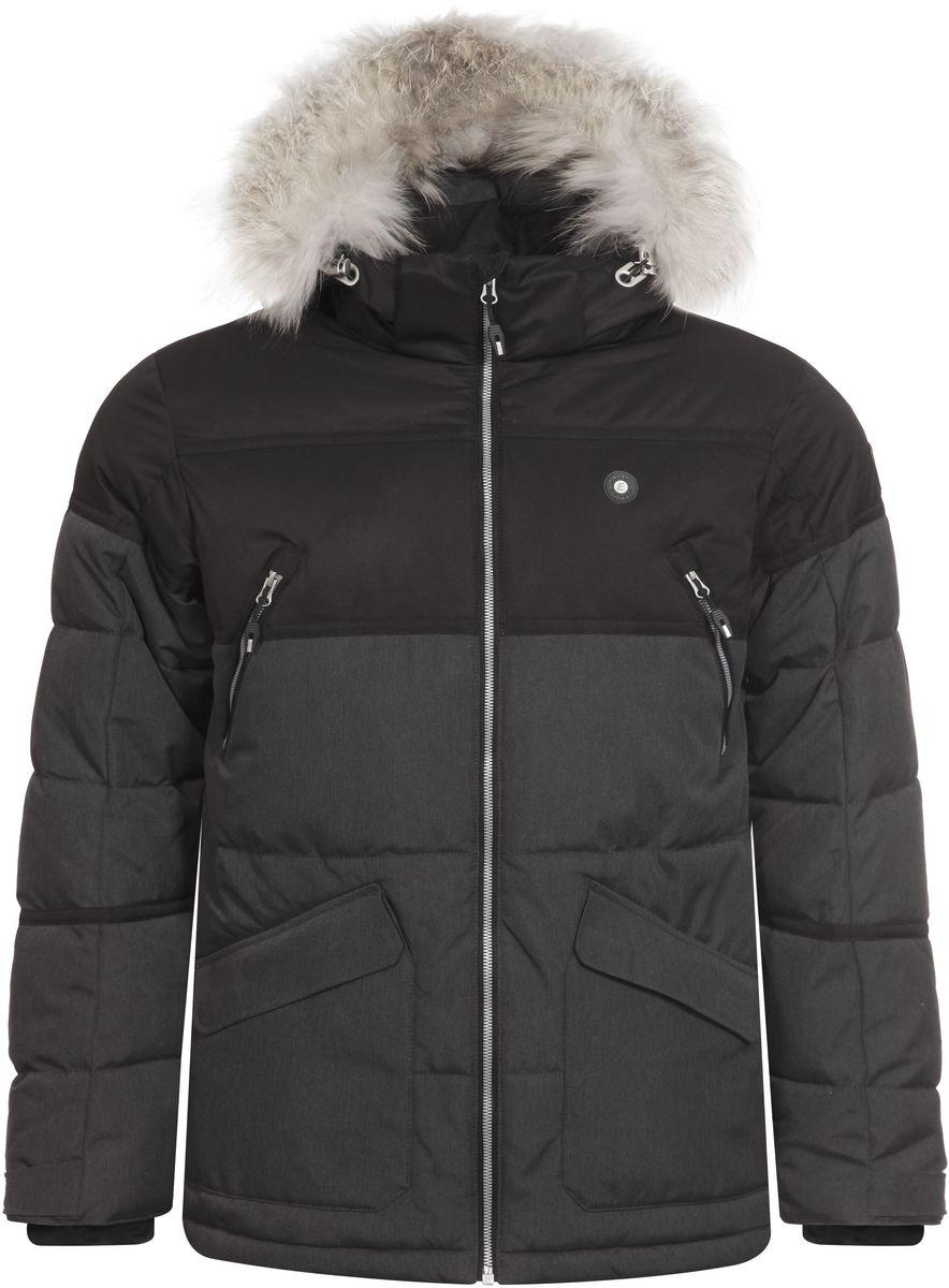 Куртка мужская Icepeak Carl, цвет: темно-серый, черный. 656225626IV. Размер XL (54)656225626IV_260Мужская куртка Icepeak Carl выполнена из водонепроницаемой и дышащей ткани - высококачественного полиэстера. Подкладочный материал Super Soft Touch легкий и обладает хорошей теплоемкостью. В качестве наполнителя используется FinnWad - 100% полиэстер. Модель с воротником-стойка и съемным капюшоном застегивается на застежку-молнию. Капюшон, оформленный искусственным мехом, пристегивается к куртке с помощью застежки-молнии, кнопок и липучек. Изделие оснащено двумя накладными карманами на застежках-молниях и с клапанами на липучках, на груди - двумя прорезными карманами на застежках-молниях, с внутренней стороны - прорезным карманом на застежке-молнии. Рукава дополнены внутренними текстильными манжетами и регулируются с помощью хлястиков с липучками. Объем капюшона регулируется при помощи эластичного шнурка и хлястика на липучке. Низ изделия также оснащен эластичным шнурком со стопперами. С внутренней стороны куртка имеет снегозащитный манжет на кнопках.