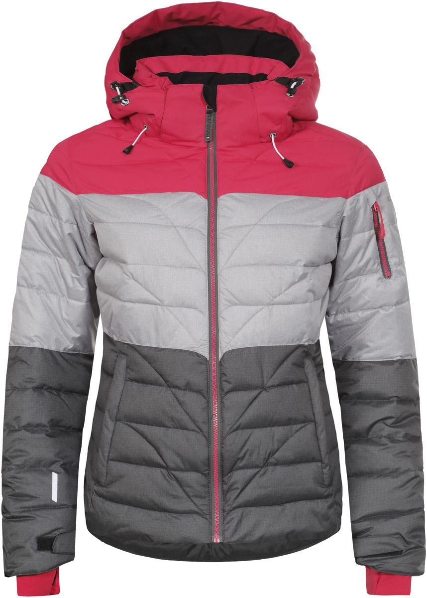 Куртка женская Icepeak Kendra, цвет: фуксия, светло-серый, темно-серый. 653234553IV. Размер 40 (46)653234553IV_640Женская куртка Icepeak Kendra выполнена из водонепроницаемой и дышащей ткани - высококачественного полиэстера. Подкладочный материал Soft Touch легкий и обладает хорошей теплоемкостью. В качестве наполнителя используется FinnWad - 100% полиэстер. Модель с воротником-стойка и съемным капюшоном застегивается на застежку-молнию. Капюшон пристегивается к куртке с помощью застежки-молнии, кнопок и липучек. Изделие оснащено двумя прорезными карманами на застежках-молниях, с внутренней стороны - прорезным карманом на застежке-молнии, отверстием для наушников и двумя сетчатыми карманами, на рукаве - прорезным карманом на застежке-молнии. Рукава дополнены внутренними текстильными манжетами и регулируются с помощью хлястиков с липучками. Объем капюшона регулируется при помощи эластичных шнурков. Низ изделия также оснащен эластичным шнурком со стопперами. С внутренней стороны куртка имеет снегозащитный манжет на кнопках. Светоотражающие элементы увеличивают вашу безопасность в темное время суток.