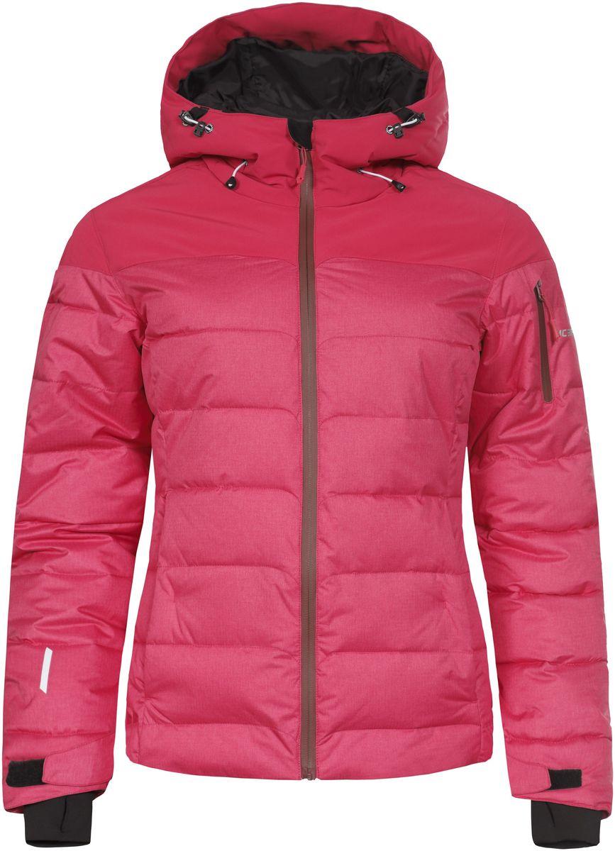 Куртка женская Icepeak Keira, цвет: розовый. 653233593IV. Размер 38 (44)653233593IV_640Женская куртка Icepeak Keira выполнена из водонепроницаемой и дышащей ткани - высококачественного полиэстера. Подкладочный материал Soft Touch легкий и обладает хорошей теплоемкостью. В качестве наполнителя используется FinnWad - 100% полиэстер. Модель с несъемным капюшоном застегивается на застежку-молнию. Изделие оснащено двумя прорезными карманами на застежках-молниях, с внутренней стороны - прорезным карманом на застежке-молнии, отверстием для наушников и двумя сетчатыми карманами, на рукаве - прорезным карманом на застежке-молнии. Рукава дополнены внутренними текстильными манжетами и регулируются с помощью хлястиков с липучками. Объем капюшона регулируется при помощи эластичного шнурка. Низ изделия также оснащен эластичным шнурком со стопперами. С внутренней стороны куртка имеет снегозащитный манжет на кнопках. Светоотражающие элементы увеличивают вашу безопасность в темное время суток.