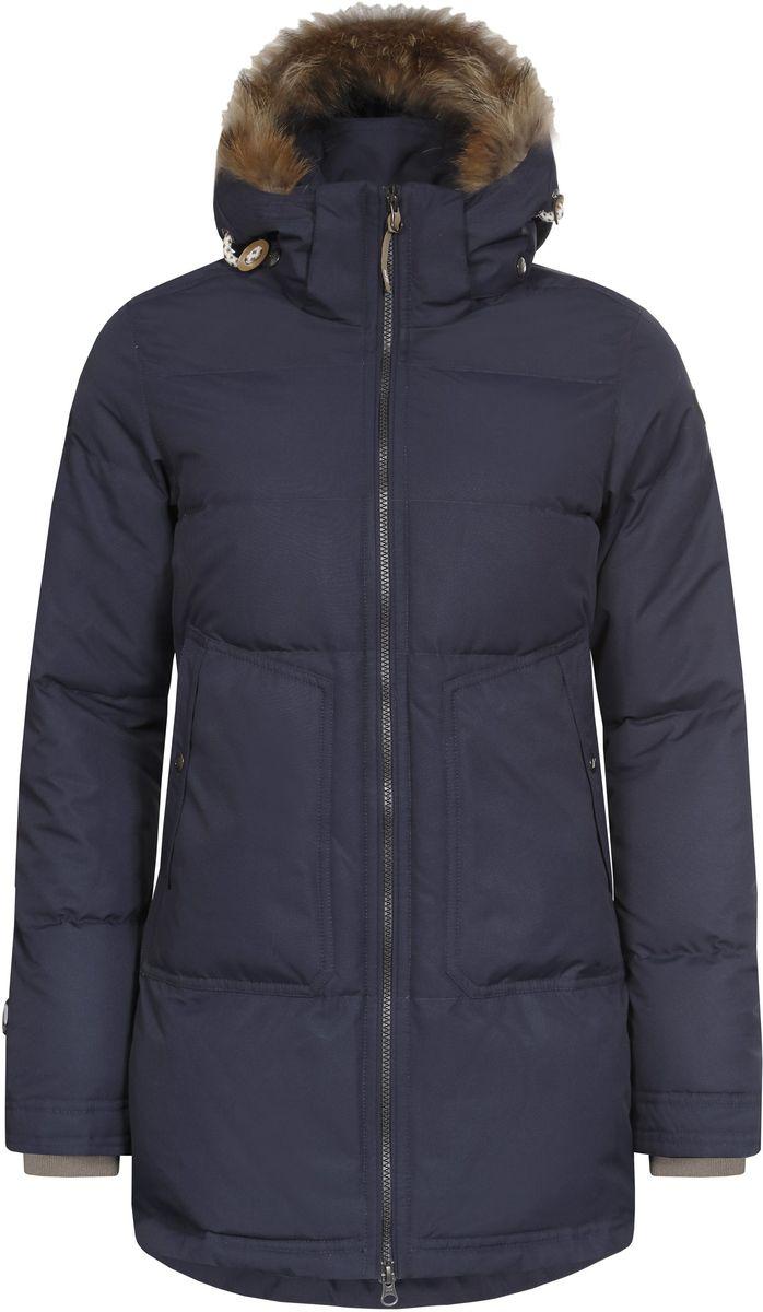 Куртка женская Icepeak Teresa, цвет: темно-синий. 653054532IV. Размер 38 (44)653054532IV_390Женская куртка Icepeak Teresa выполнена из 100% полиэстера. Материал изготовлен при помощи технологии Icemax, которая обеспечит вам надежную защиту от ветра и влаги. В качестве подкладки также используется полиэстер. Утеплителем служит материал FinnWad, который обладает высокими теплоизоляционными свойствами. Модель с воротником-стойкой и съемным капюшоном застегивается на застежку-молнию с двумя бегунками и имеет внутреннюю ветрозащитную планку. Капюшон, оформленный искусственным мехом, пристегивается к изделию за счет застежку-молнии и кнопок. Кроай капюшона дополнен шнурком-кулиской. Низ рукавов дополнен внутренними эластичными манжетами. Объем по талии регулируется за счет скрытого шнурка-кулиски. В боковых швах расположены застежки-молнии. Спереди расположено два накладных кармана на кнопках, а с внутренней стороны - накладной карман-сетка и прорезной карман на застежке-молнии. На рукавах расположены фирменные нашивки.