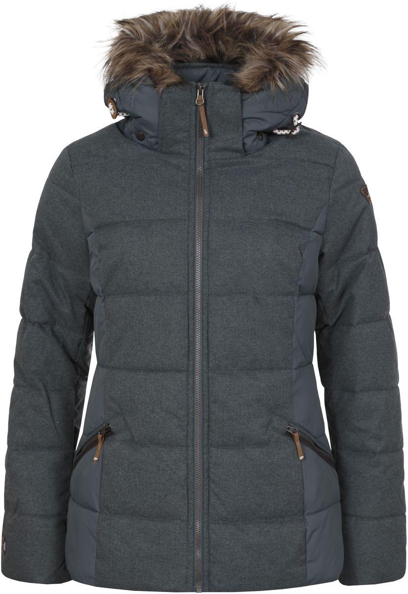 Куртка женская Icepeak Tiffy, цвет: серо-зеленый. 653045562IV. Размер 40 (46)653045562IV_569Женская куртка Icepeak Tiffi, изготовленная из водоотталкивающей и ветрозащитной ткани, которая создает оптимальный микроклимат внутри куртки, утеплена синтепоном. Наполнитель -изготовленный из полиэстера материал Super Soft Touch, состоящий из множества слоев тончайших волокон, которые обеспечивают отличную термоизоляцию, но не утяжеляют изделие. Куртка с воротником-стойкой и съемным капюшоном застегивается на молнию. Капюшон, оформленный искусственным мехом, пристегивается при помощи кнопок и молнии и регулируется с помощью эластичной резинки со стопперами. Рукава оснащены внутренними трикотажными манжетами. Спереди куртка дополнена двумя втачными карманами на застежках-молниях, а с внутренней стороны расположены один накладной карман-сетка и один втачной карман на молнии. Низ куртки дополнен шнурком-кулиской со стопперами.