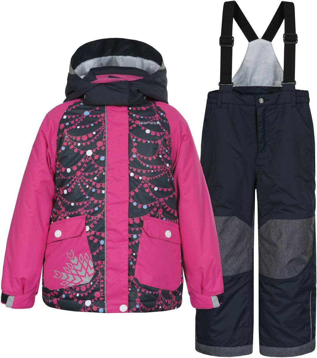 Комплект для девочки Icepeak Jody Kd: куртка, брюки, цвет: розовый, темно-синий. 652102502IV. Размер 110652102502IV_390Комплект для девочки Icepeak Jody Kd выполнен из 100% полиэстера и состоит из куртки и брюк. В качестве подкладки и утеплителя также используется 100% полиэстер. Ткань изготовлена с применением технологии ICEMAX, с водонепроницаемой и воздухопроницаемой мембраной 5000мм/2000 г/м2 /24 ч, которая защищает от ветра и влаги даже в экстремальных условиях. Брюки застегиваются на молнию и пуговицу. Подкладка брюк выполнена из гладкой ткани. Изделие дополнено эластичными наплечными лямками, регулируемыми по длине. На талии по бокам предусмотрена широкая эластичная резинка. Снизу брючин предусмотрены муфты с прорезиненными полосками, препятствующие попаданию снега в обувь и не дающие брючинам задираться вверх. Куртка со съемным капюшоном и воротником-стойкой застегивается на пластиковую застежку-молнию с защитой для подбородка и дополнительно имеет ветрозащитную планку на липучках и кнопках. Капюшон пристегивается при помощи кнопок. Манжеты рукавов дополнены эластичными резинками и регулируются по ширине за счет хлястиков с липучками. Спереди модель дополнена двумя накладными карманами на застежках-кнопках. Комплект оснащен светоотражающими элементами.