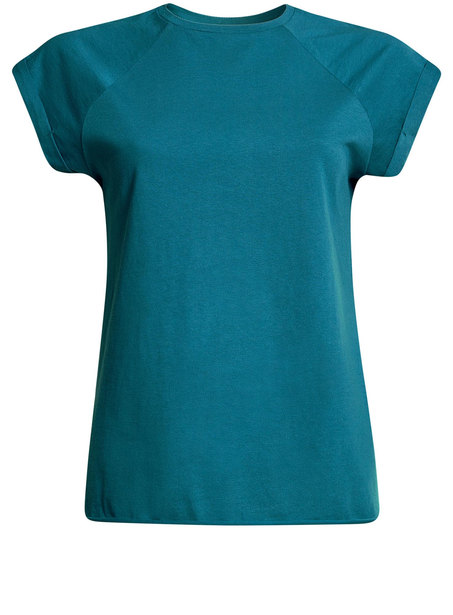 Футболка женская oodji Ultra, цвет: темно-бирюзовый. 14707001-4B/46154/6C00N. Размер S (44)14707001-4B/46154/6C00NЖенская футболка выполнена из хлопка. Модель с круглым вырезом горловины и короткими рукавами реглан, дополненными отворотом.